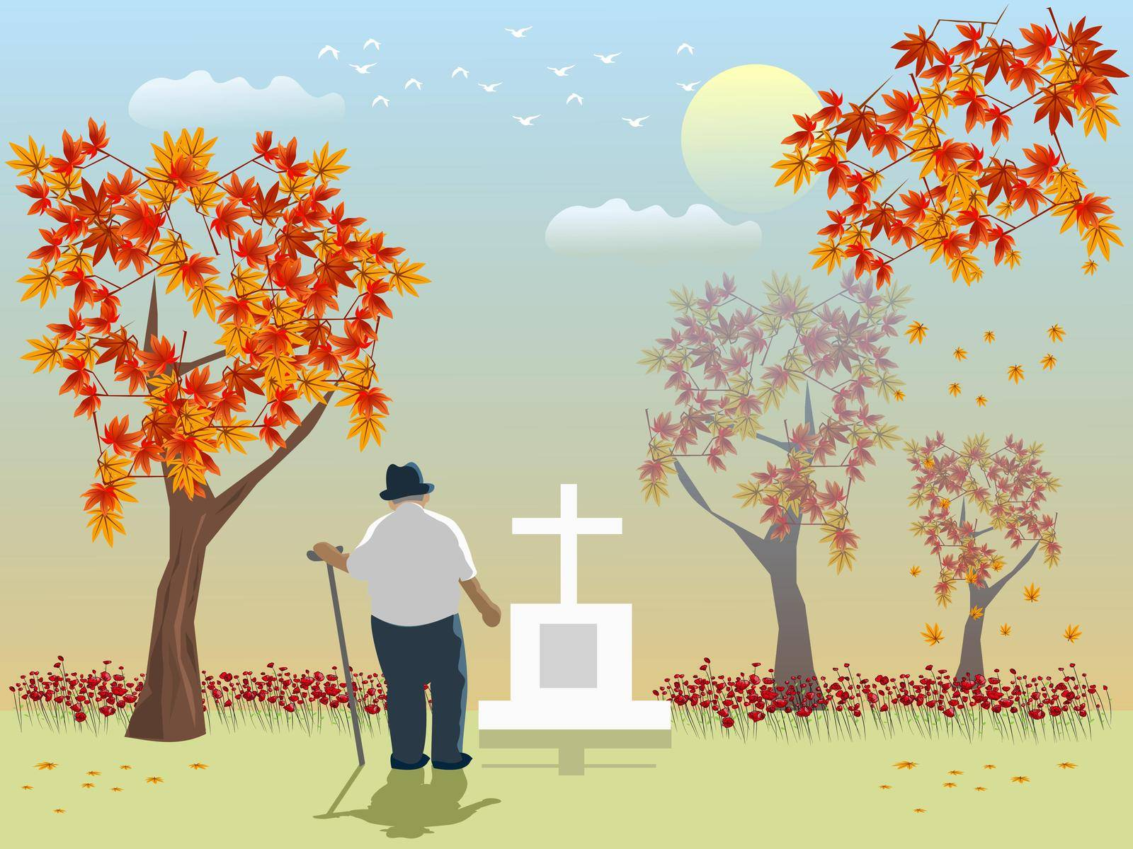 An old man looks at his lover's grave with maple trees and orange sky in the background. by moo12