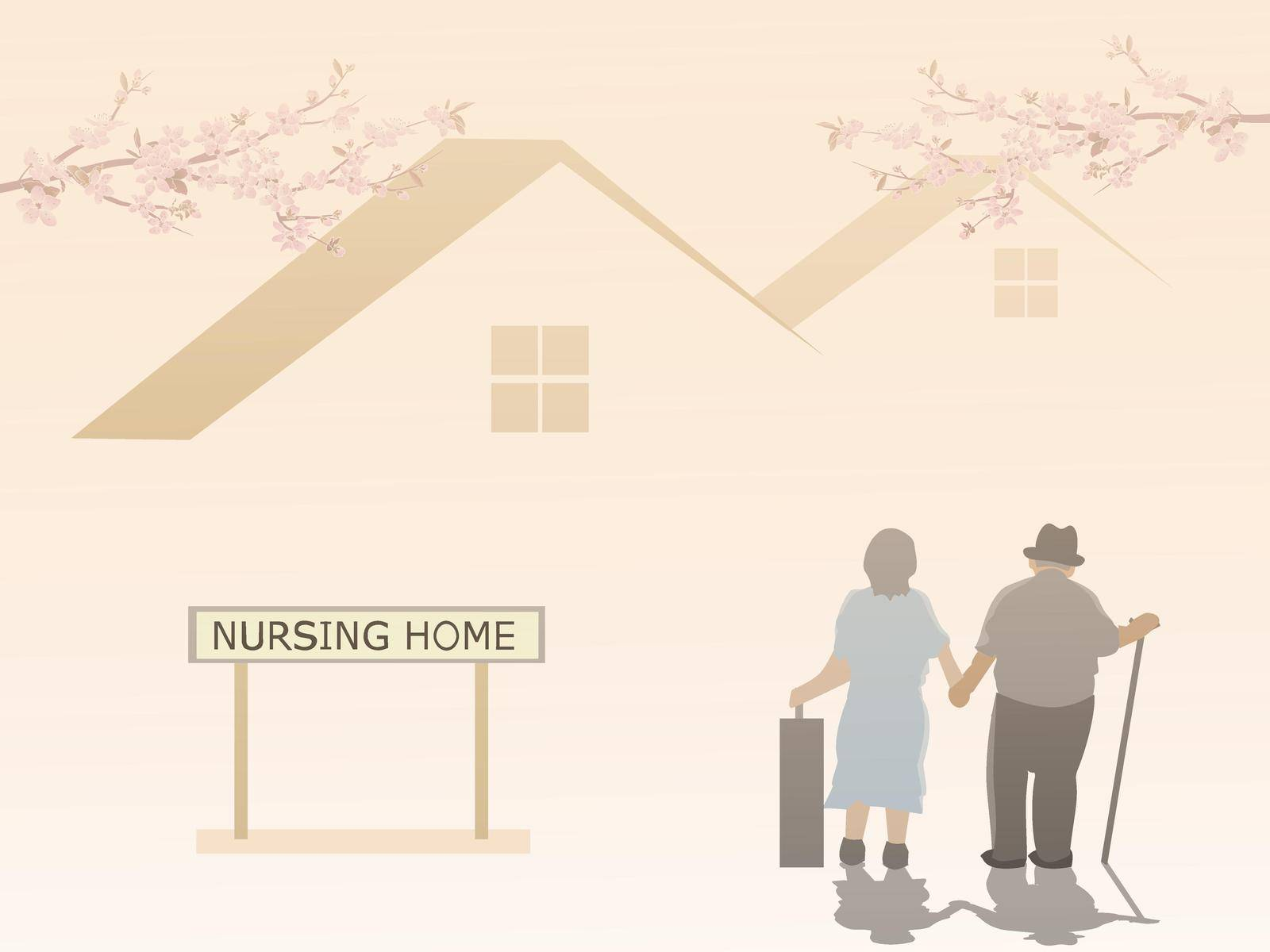 An elderly couple is entering a nursing home with a house and pink sky in the background. by moo12