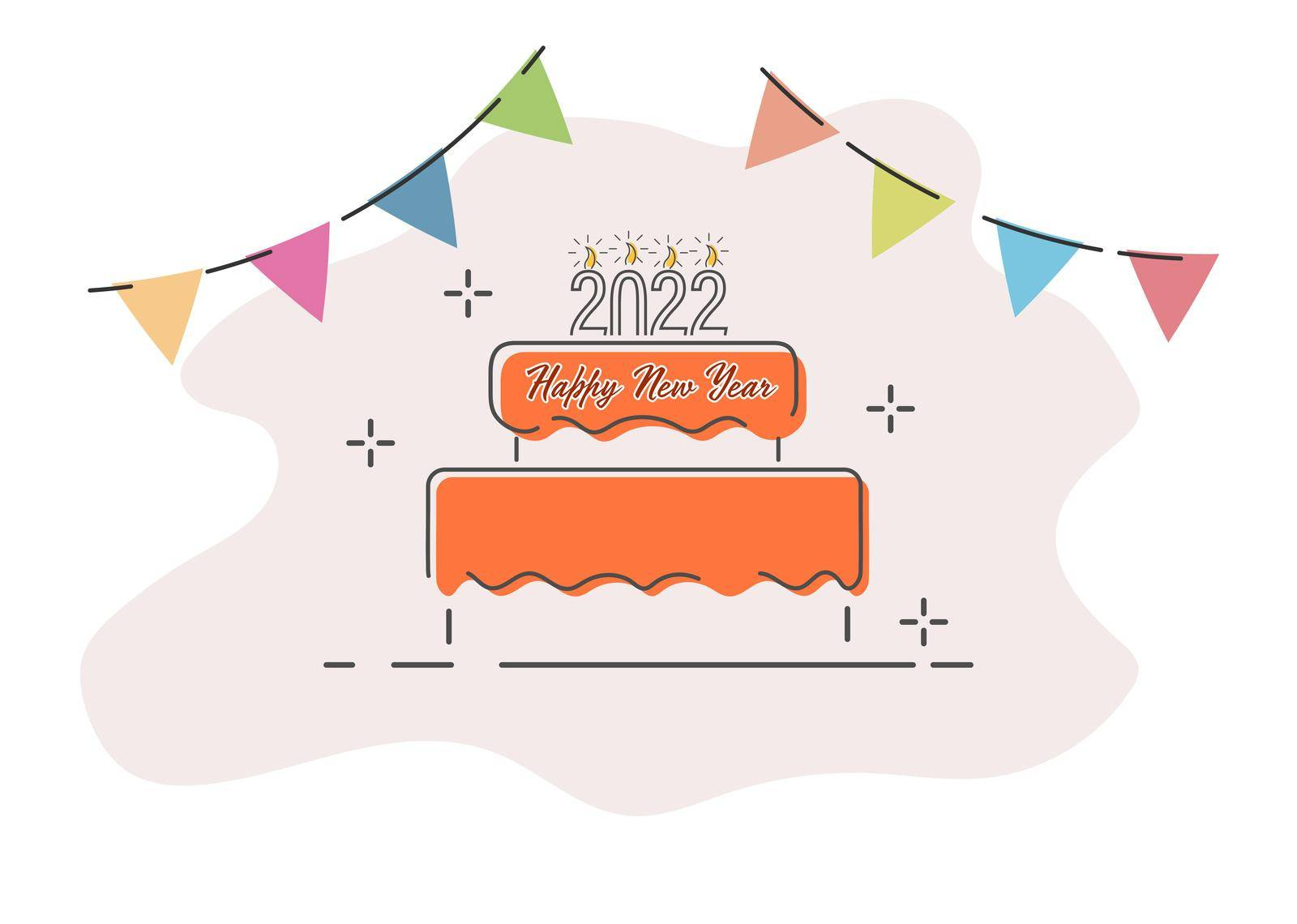 A festive cake with candles 2022 and a congratulatory inscription. Merry Christmas and Happy New Year. Vector illustration. by Grommik