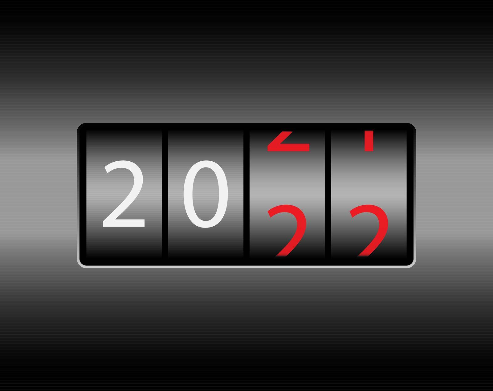 Odometer with the numbers 2022. New year 2022 is on the odometer. Merry Christmas and Happy New Year. Vector illustration. by Grommik