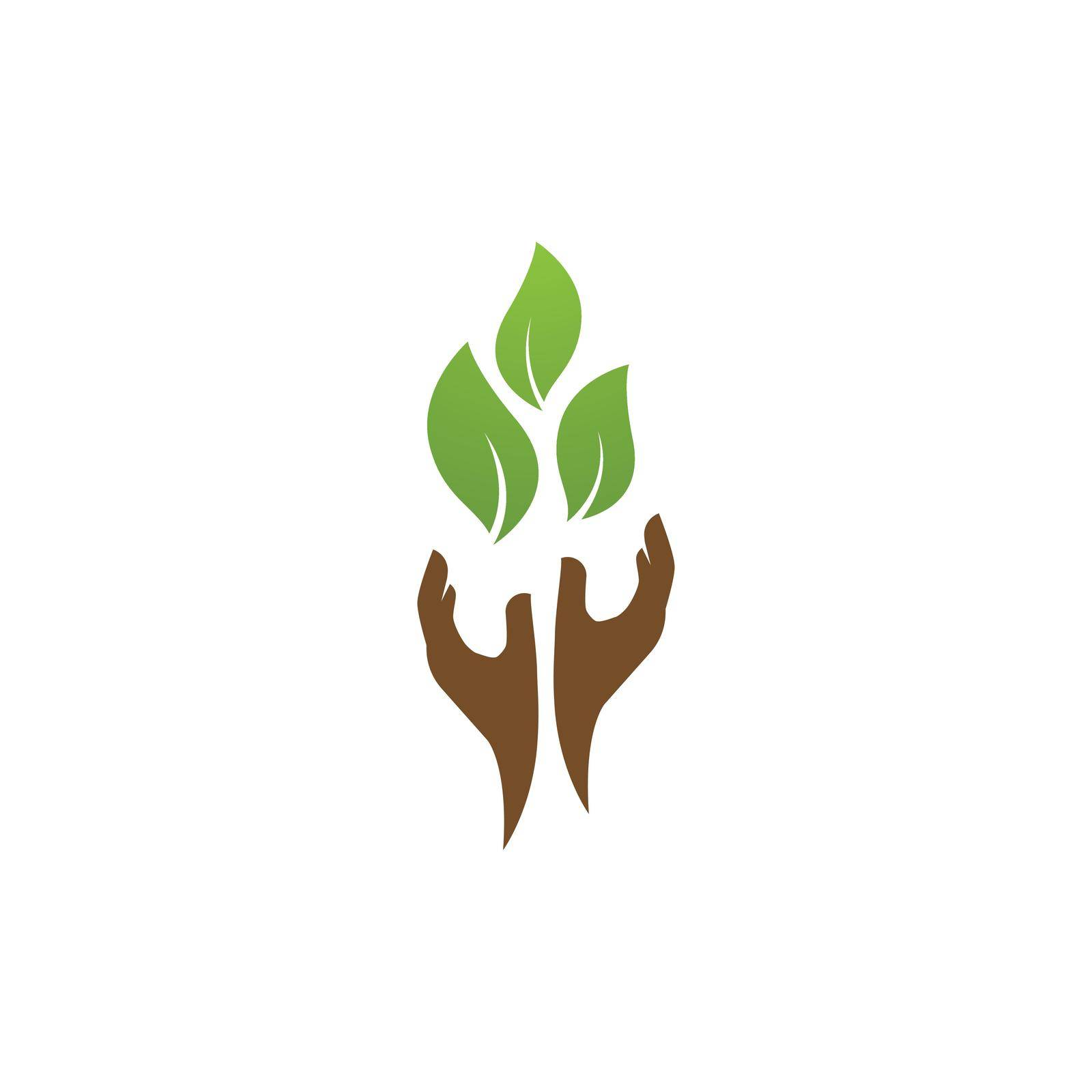 Save nature ecology logo hand and leaf illustration