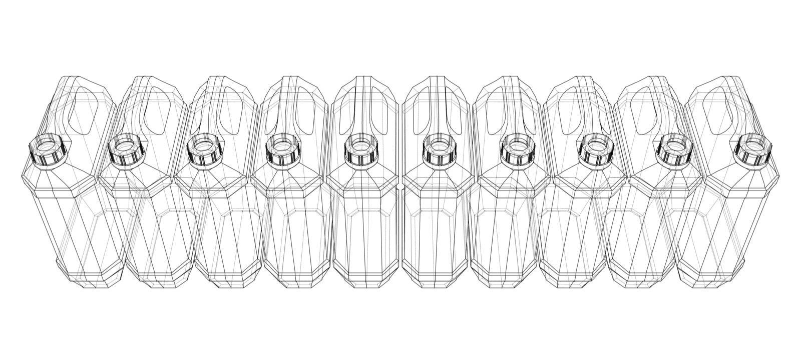 Cans of car liquids. Vector rendering of 3d. Wire-frame style. The layers of visible and invisible lines are separated. Orthography or isometric