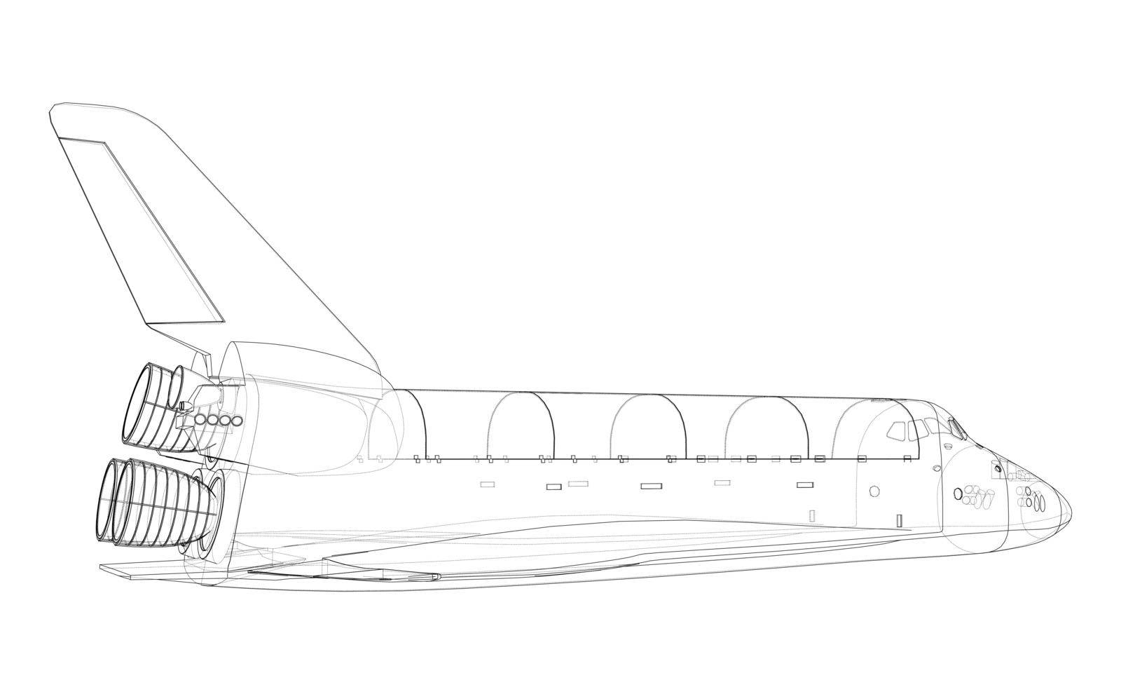 Space shuttle. Vector rendering of 3d. Wire-frame style. The layers of visible and invisible lines are separated