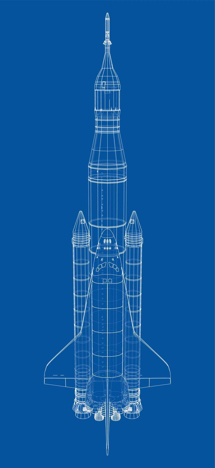 Rocket carrying space shuttle. Vector rendering of 3d. Wire-frame style. Elements of this image furnished by NASA