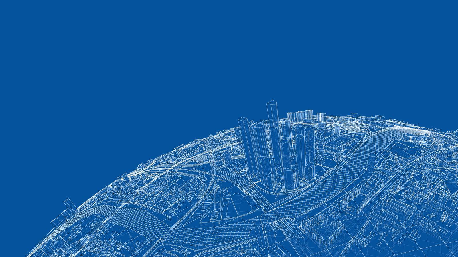 3d city sphere. Vector rendering of 3d. Wire-frame style. The layers of visible and invisible lines are separated