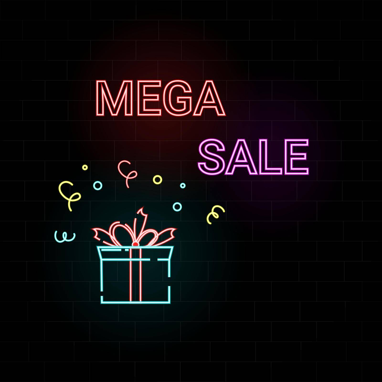 Mega sale neon text on brick background.For business, marketing and advertising. Vector on isolated background. Colorful advertising of gifts for any sales. Vector illustration