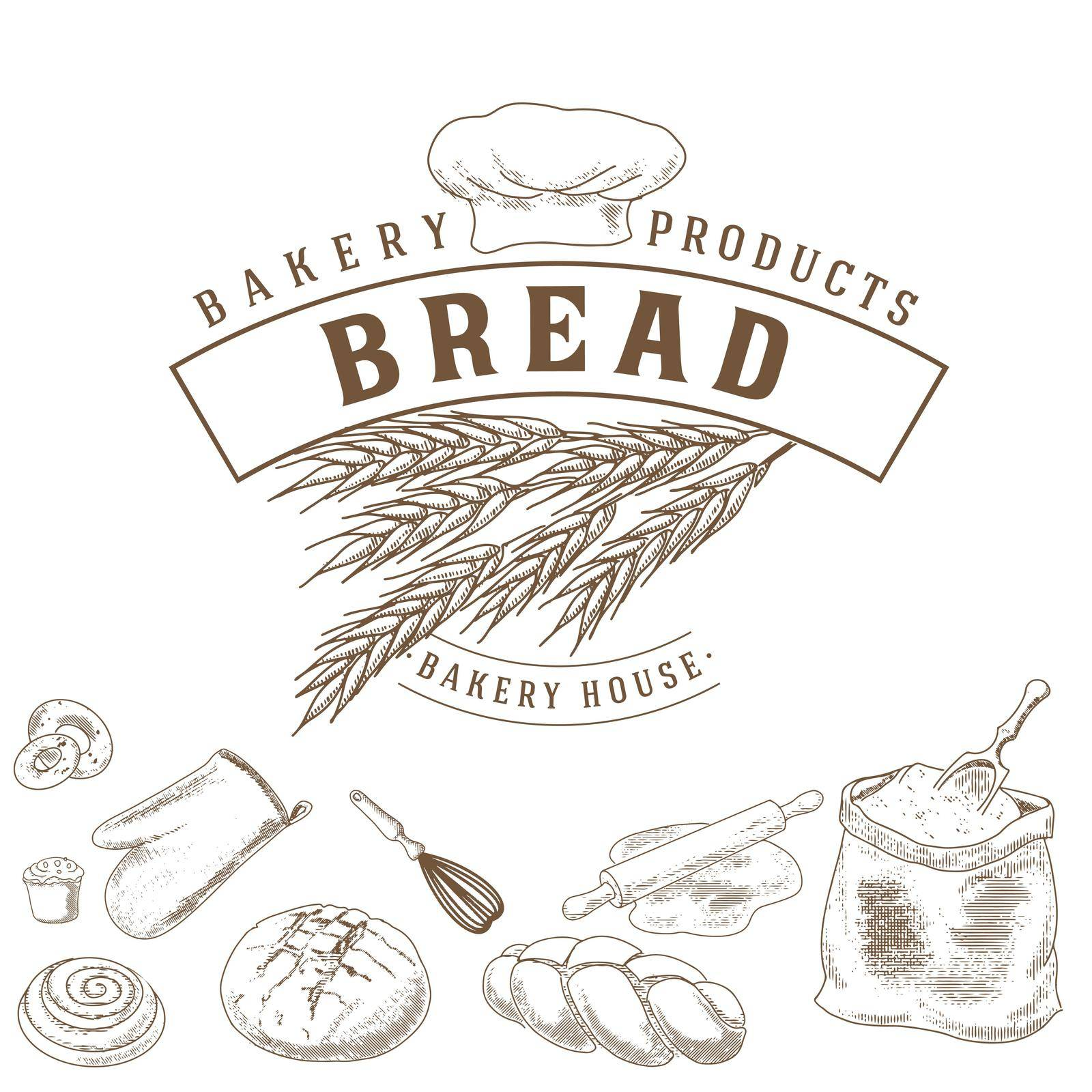 A collection of bread and bread products in an engraved vintage style. Emblem, bakery icon