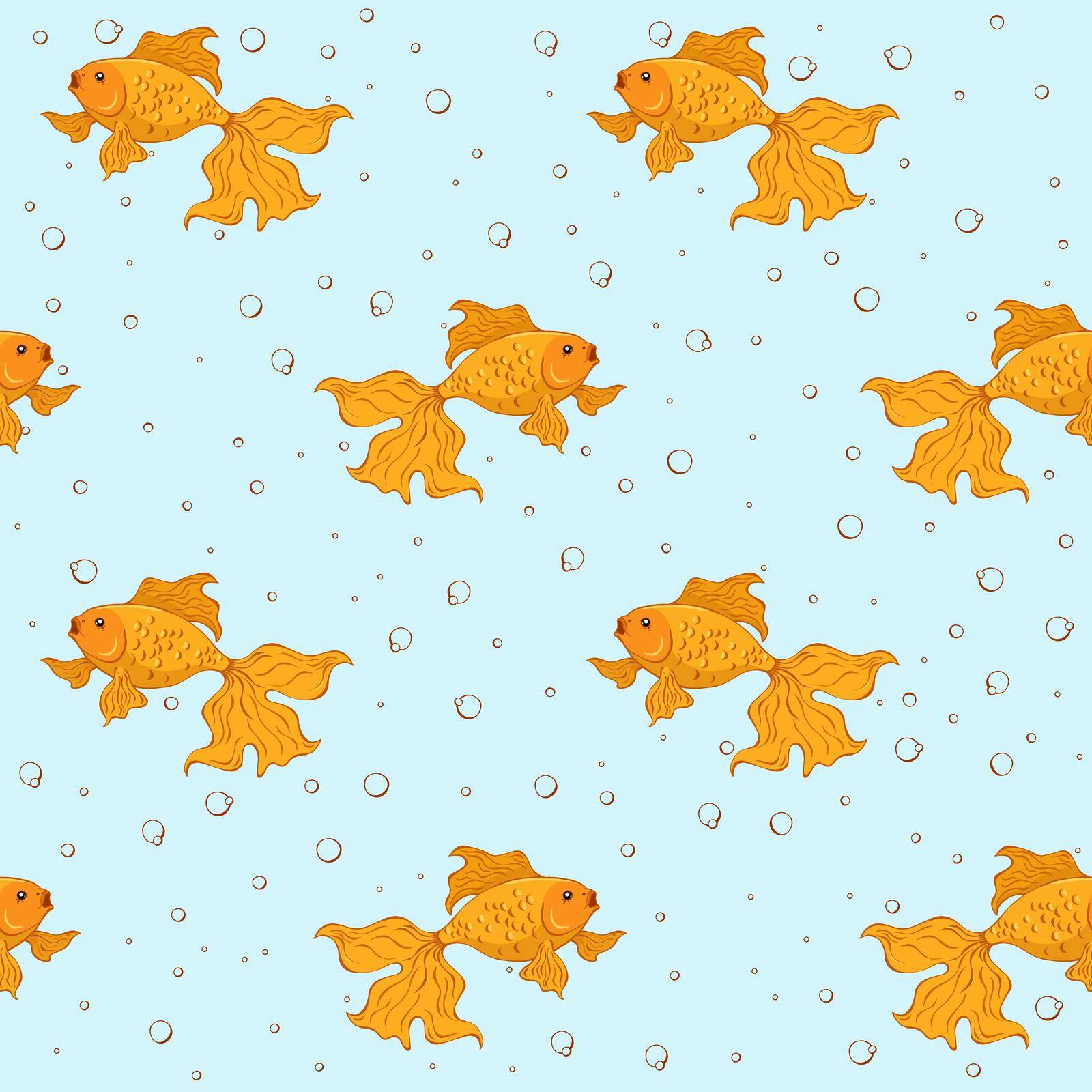 Seamless pattern with goldfishes and bubble on blue background.