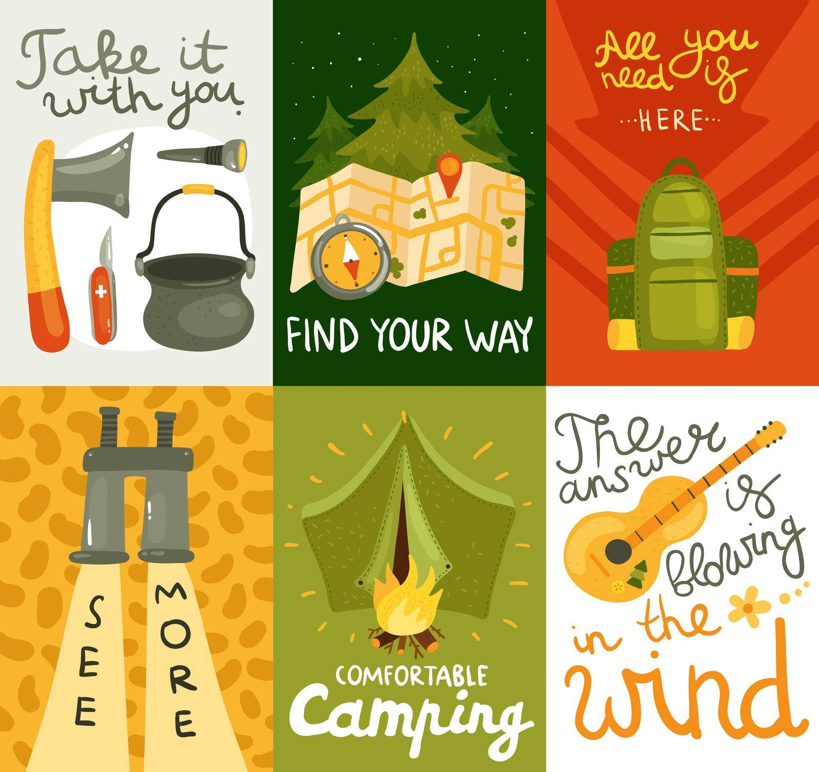 Colorful cards set with equipment for comfortable camping on colorful background flat isolated vector illustration