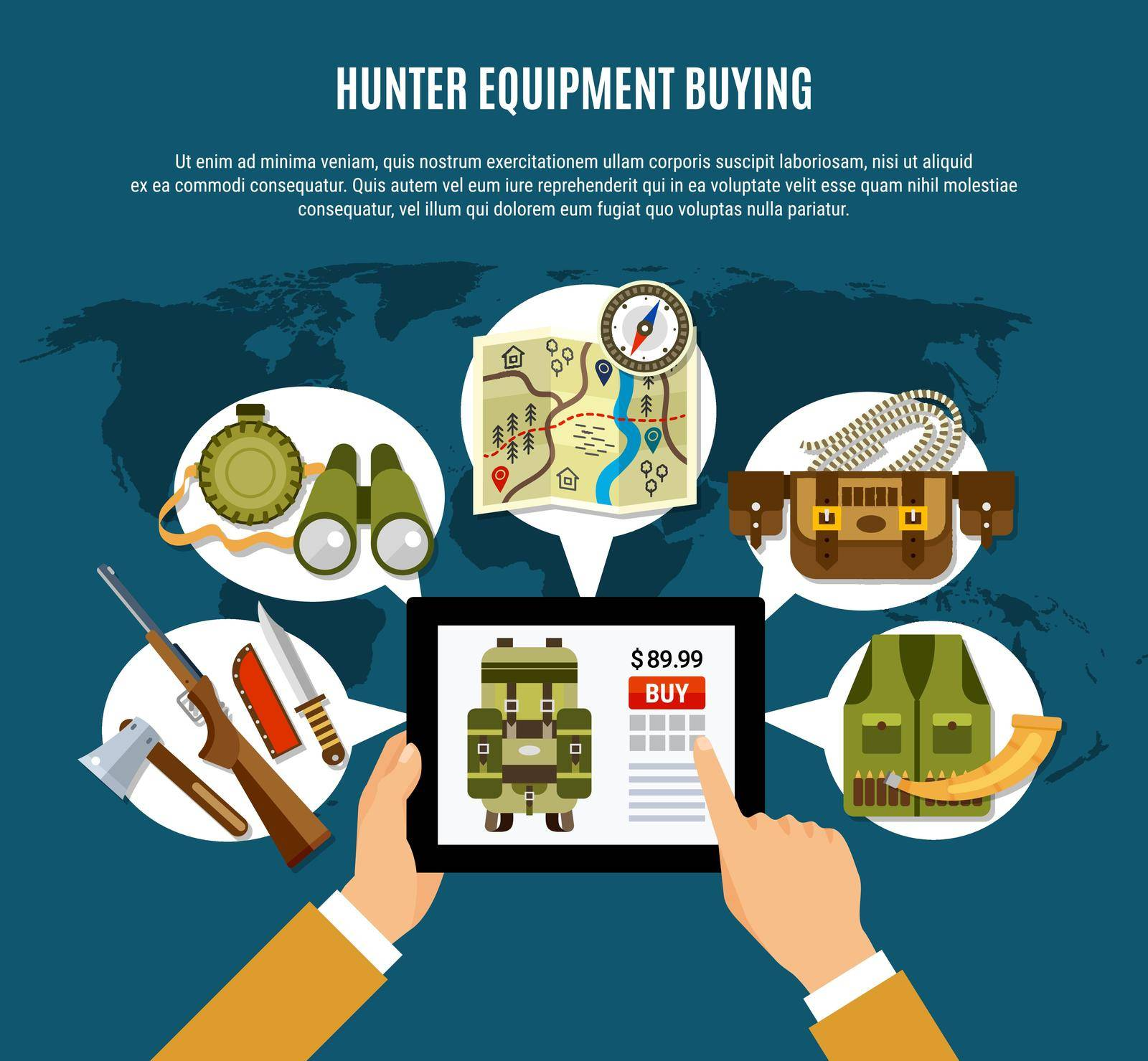 Hunter equipment composition with uniform rifle and map flat vector illustration
