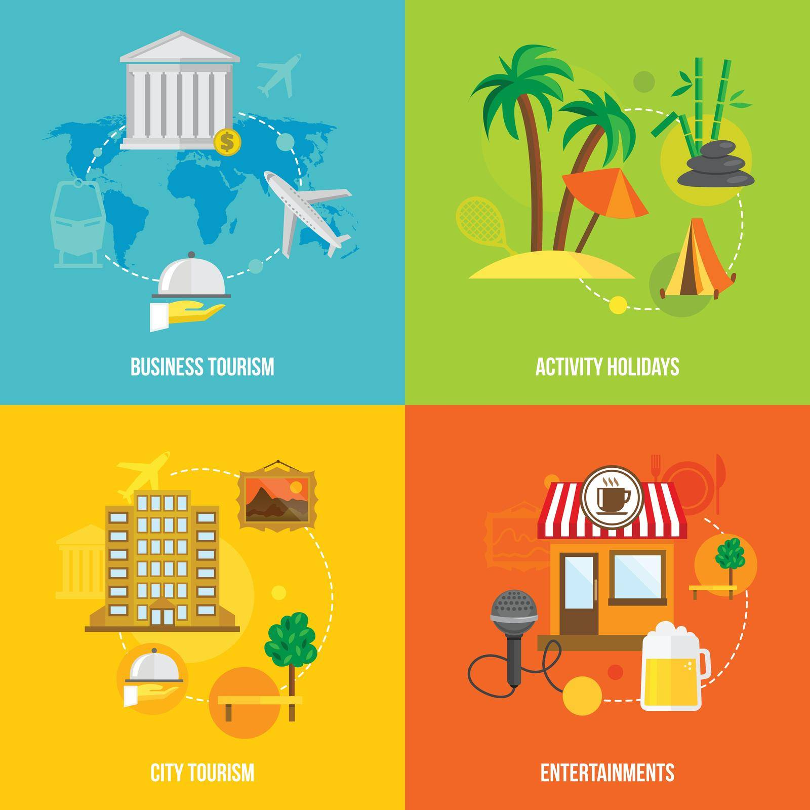 Building tourism icons flat set of business activity holidays city entertainments isolated vector illustration