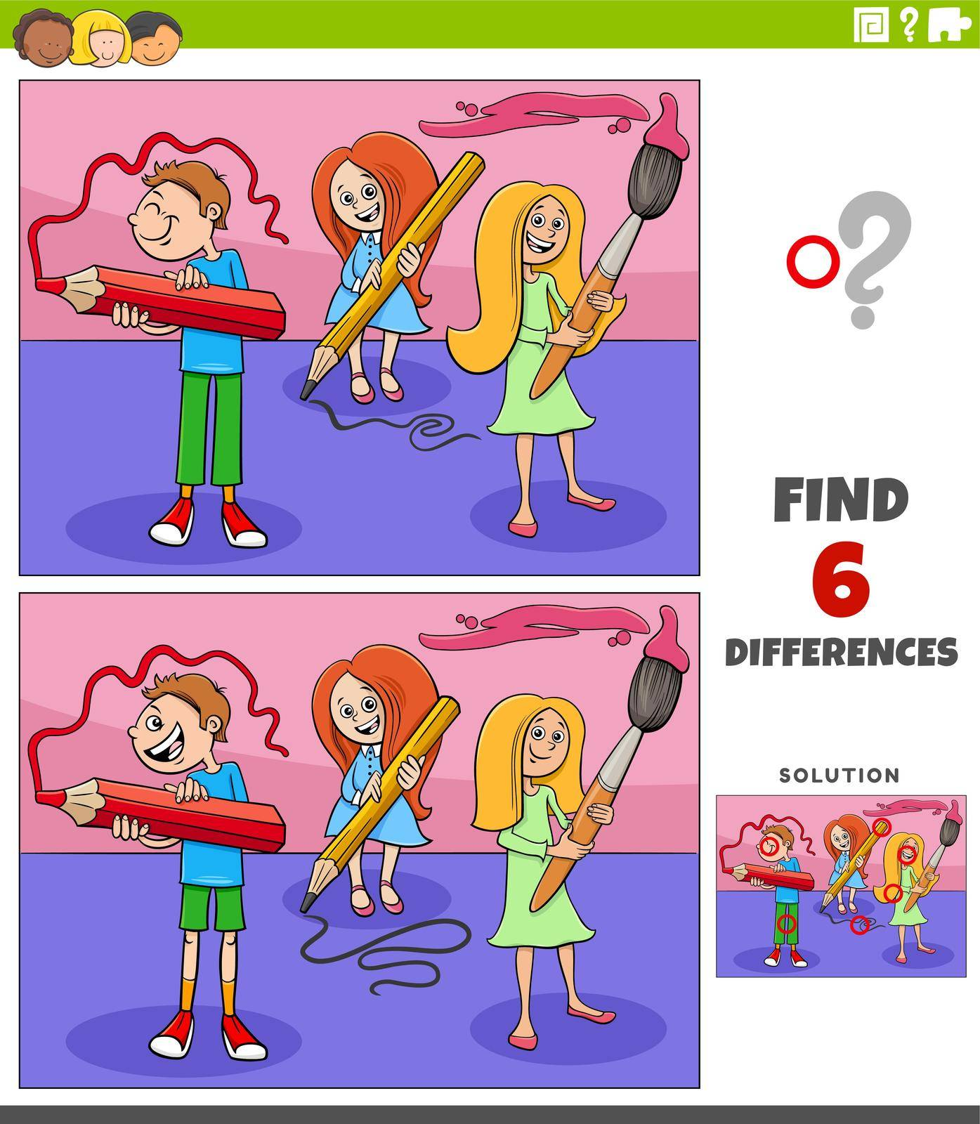 Cartoon illustration of finding the differences between pictures educational game with students children