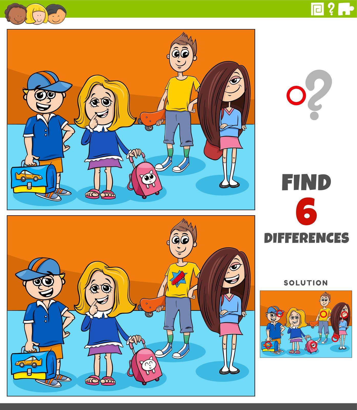 Cartoon illustration of finding the differences between pictures educational game with elementary age kids