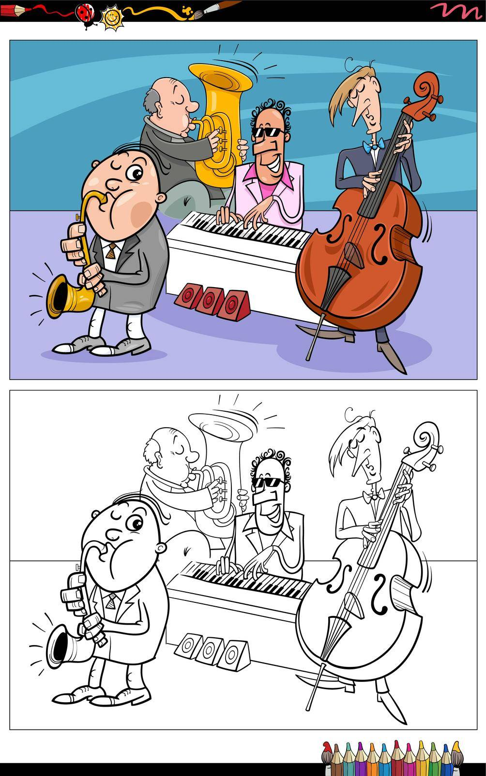 Cartoon illustration of musicians characters band coloring book page