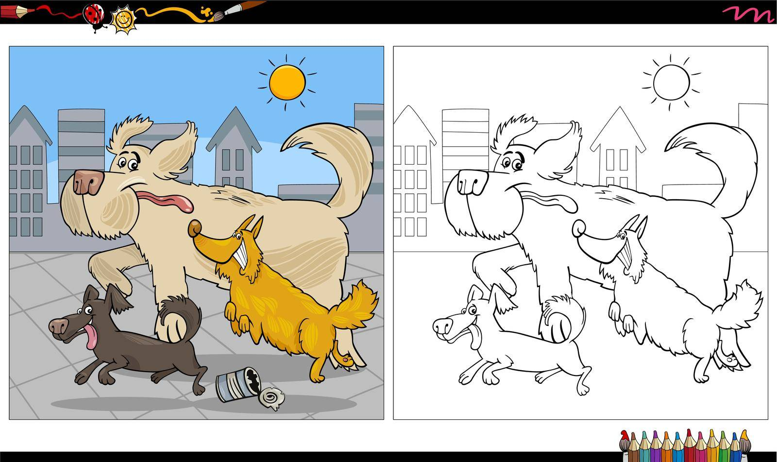 Cartoon illustration of running dogs animal characters group coloring book page