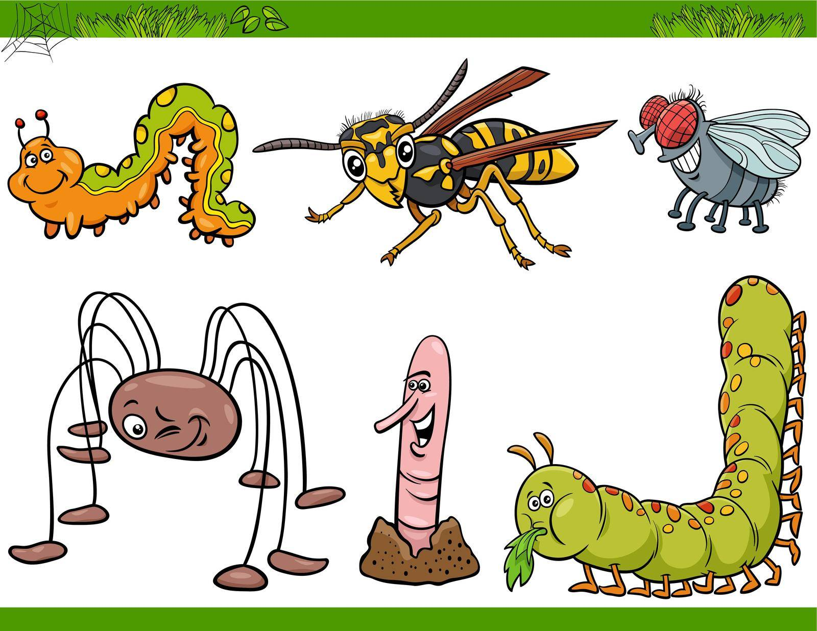 Cartoon humorous illustration of comic insects animal characters set