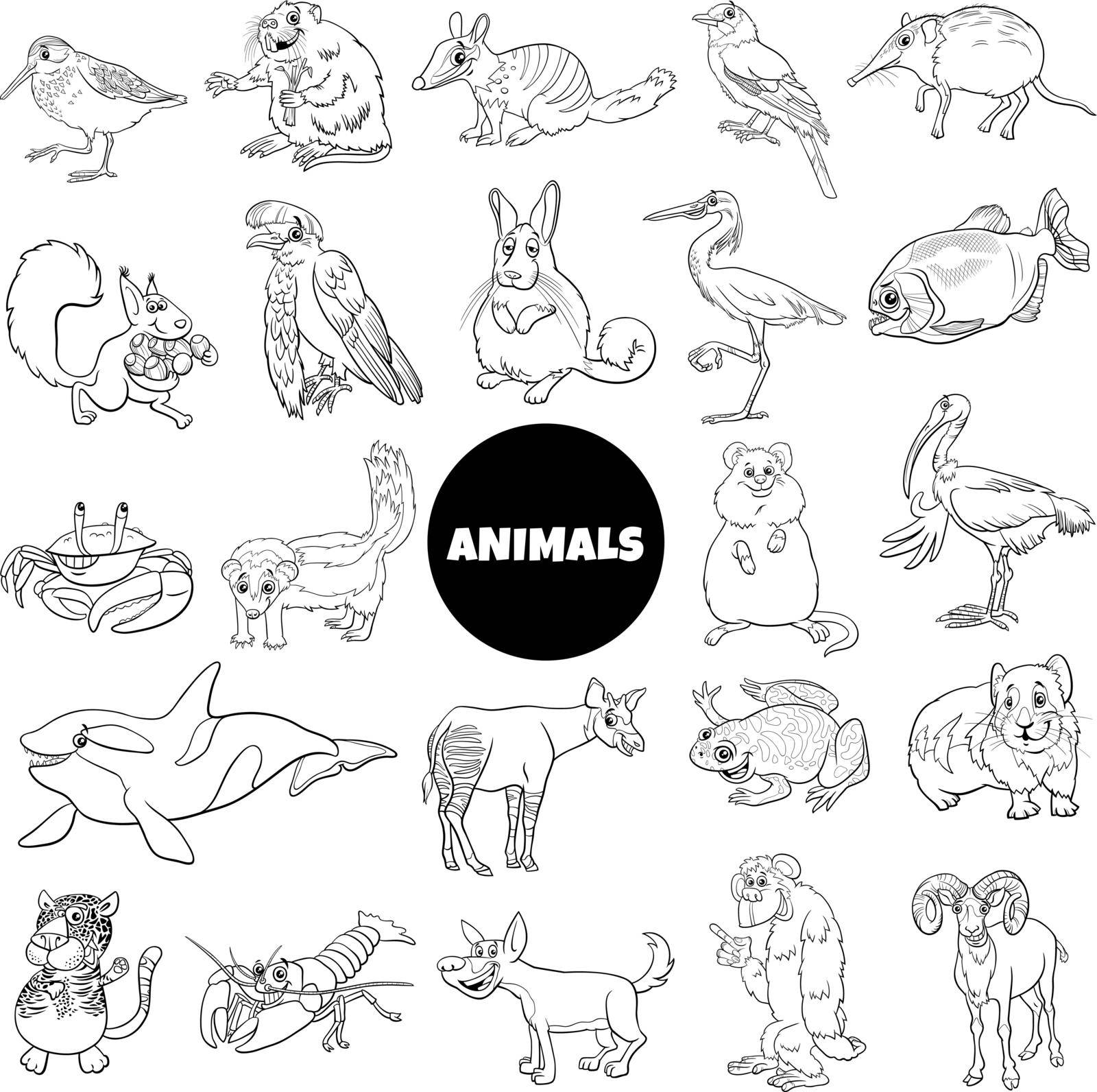 Black and white cartoon illustration of funny wild animal species characters big set