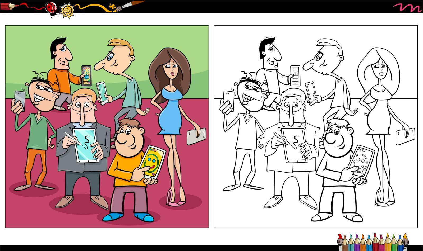 Cartoon illustration of people with smart phones and tablets talking or taking photos comic characters group coloring book page