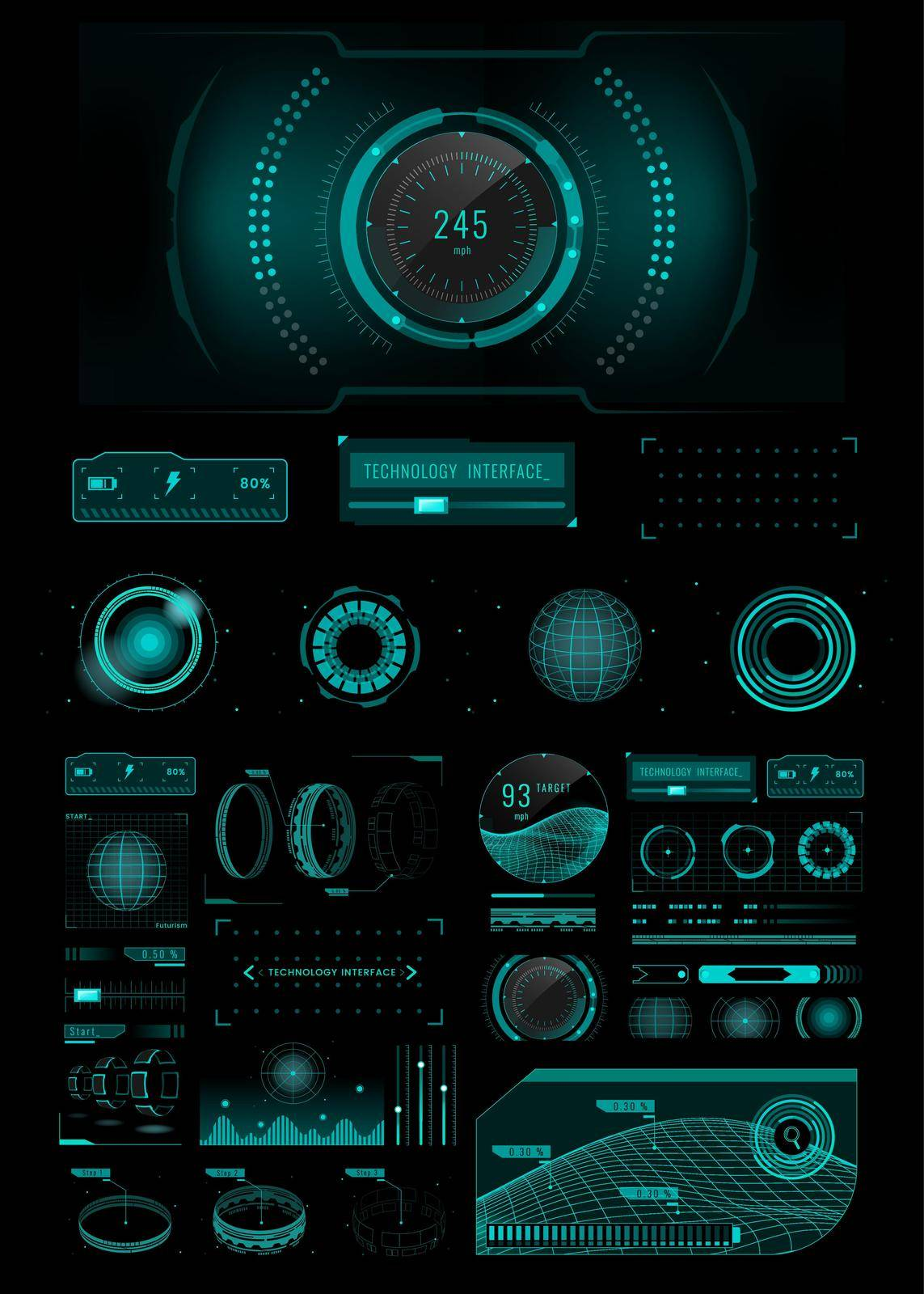 Velocity technology interface template design elements vector