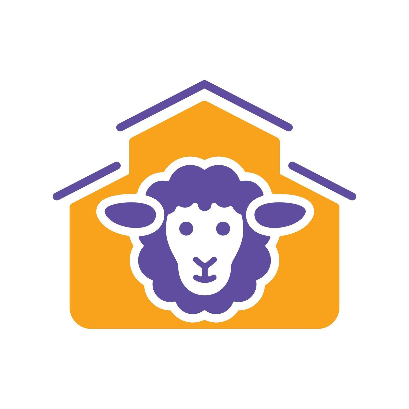 Sheep house glyph icon. Farm animal sign. Graph symbol for your web site design, logo, app, UI. Vector illustration