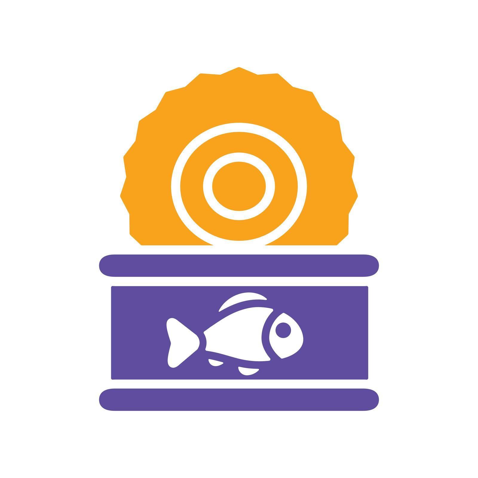 Fish preserves glyph icon. Farm animal sign. Graph symbol for your web site design, logo, app, UI. Vector illustration