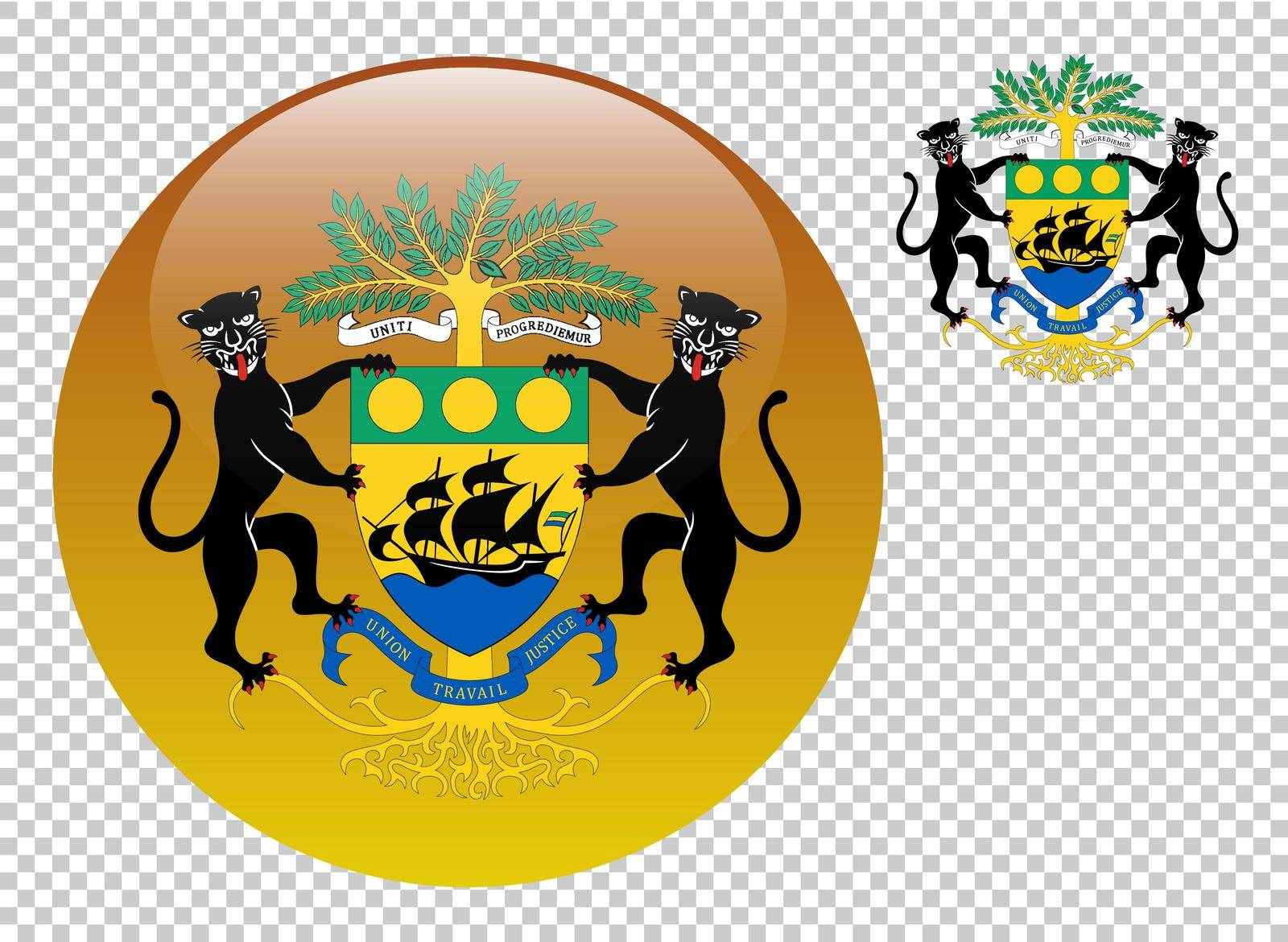 Coat of arms of Gabon vector illustration on a transparent background