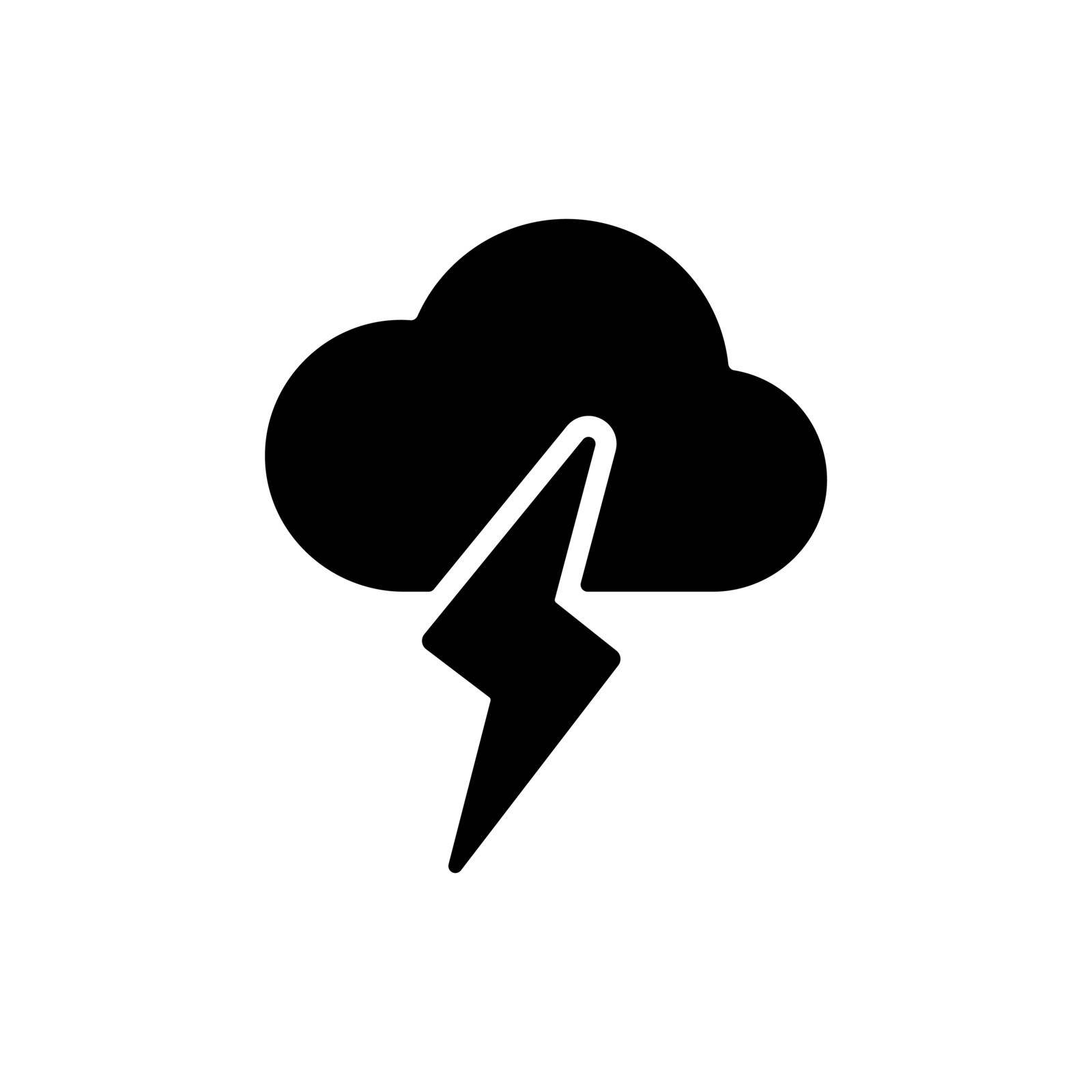 Cloud with lightning vector glyph icon. Meteorology sign. Graph symbol for travel, tourism and weather web site and apps design, logo, app, UI