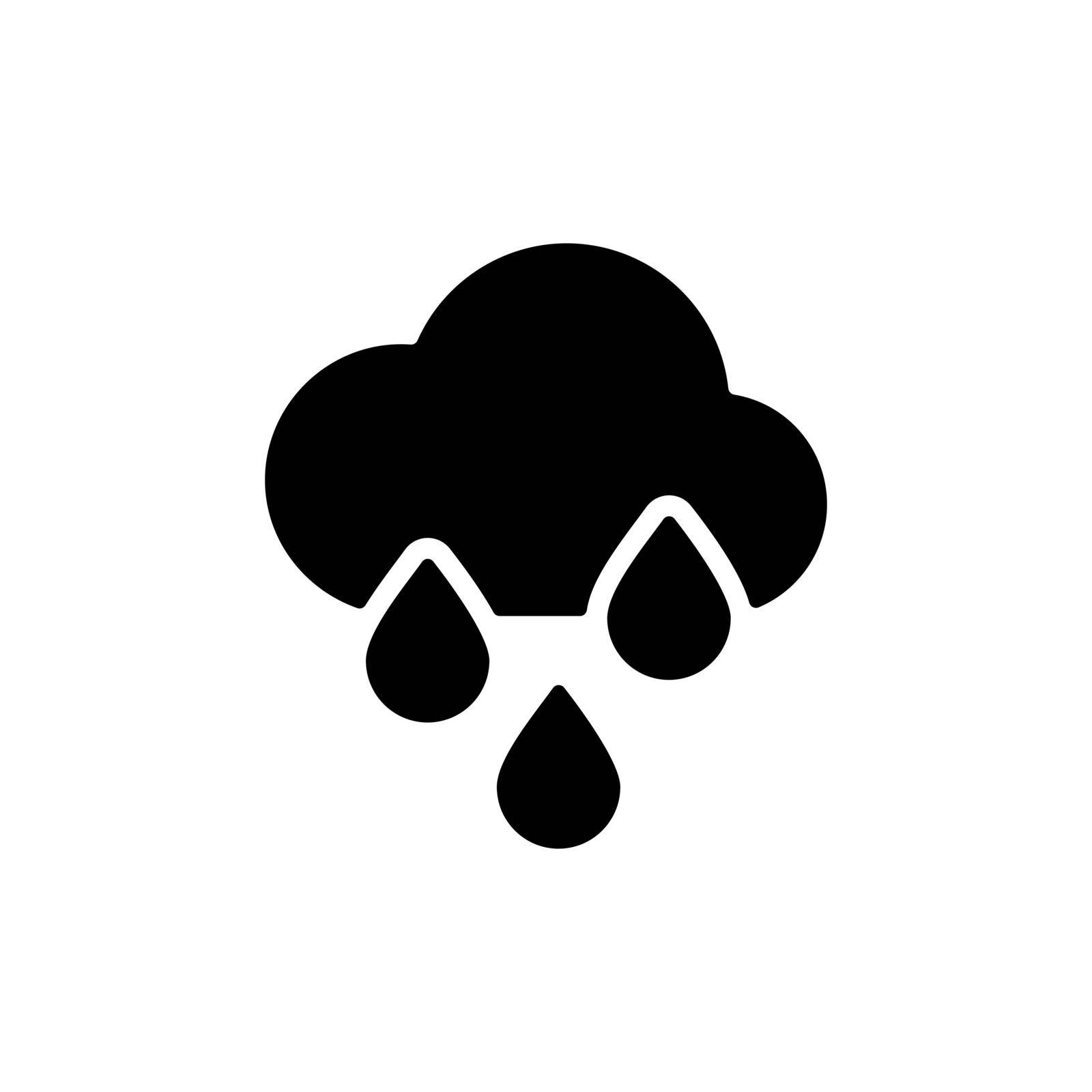 Raincloud with raindrops vector glyph icon. Meteorology sign. Graph symbol for travel, tourism and weather web site and apps design, logo, app, UI