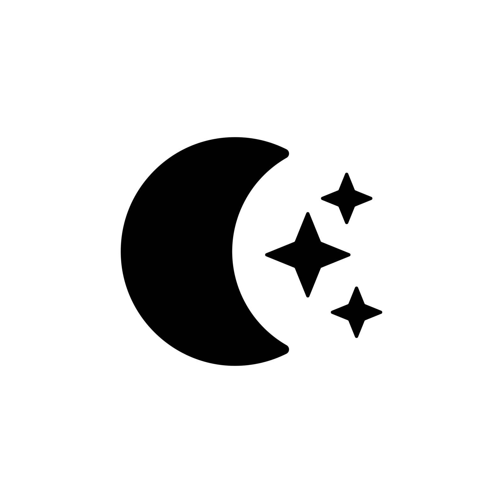 Moon and star vector glyph icon. Meteorology sign. Graph symbol for travel, tourism and weather web site and apps design, logo, app, UI