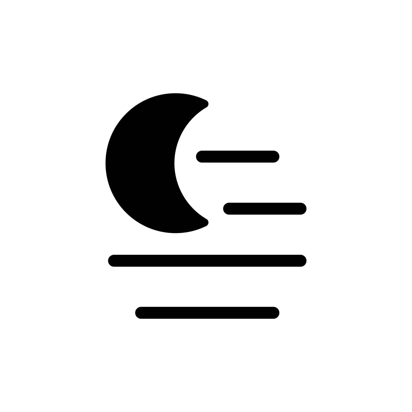 Fog night vector glyph icon. Meteorology sign. Graph symbol for travel, tourism and weather web site and apps design, logo, app, UI