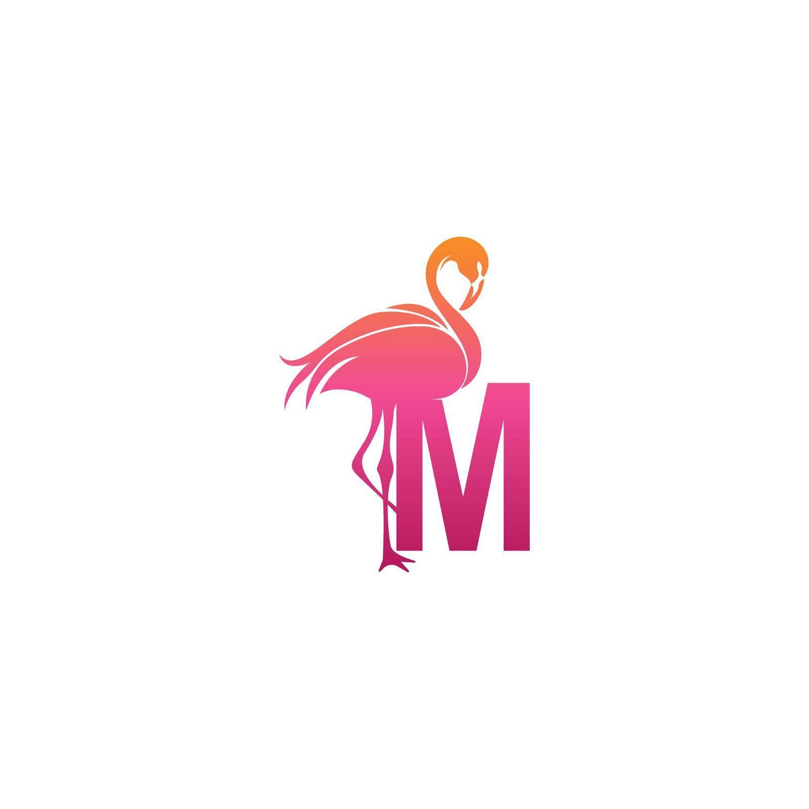 Flamingo bird icon with letter M Logo design vector template
