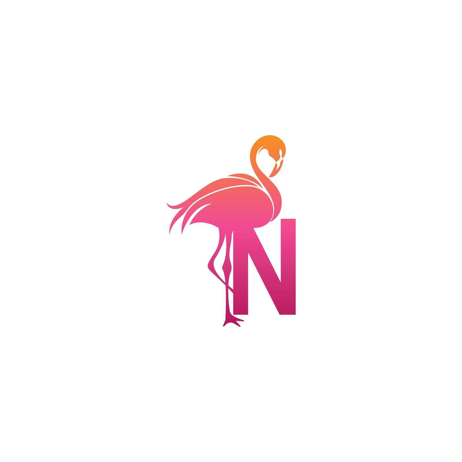 Flamingo bird icon with letter N Logo design vector template
