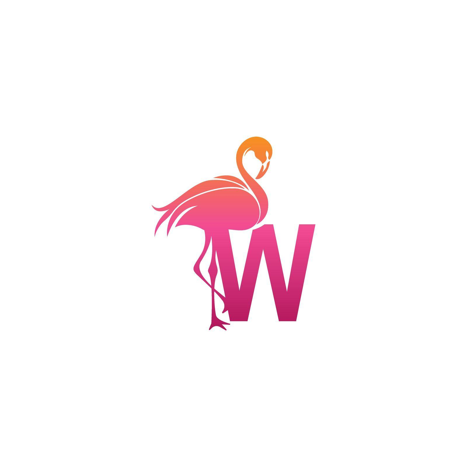 Flamingo bird icon with letter W Logo design vector template