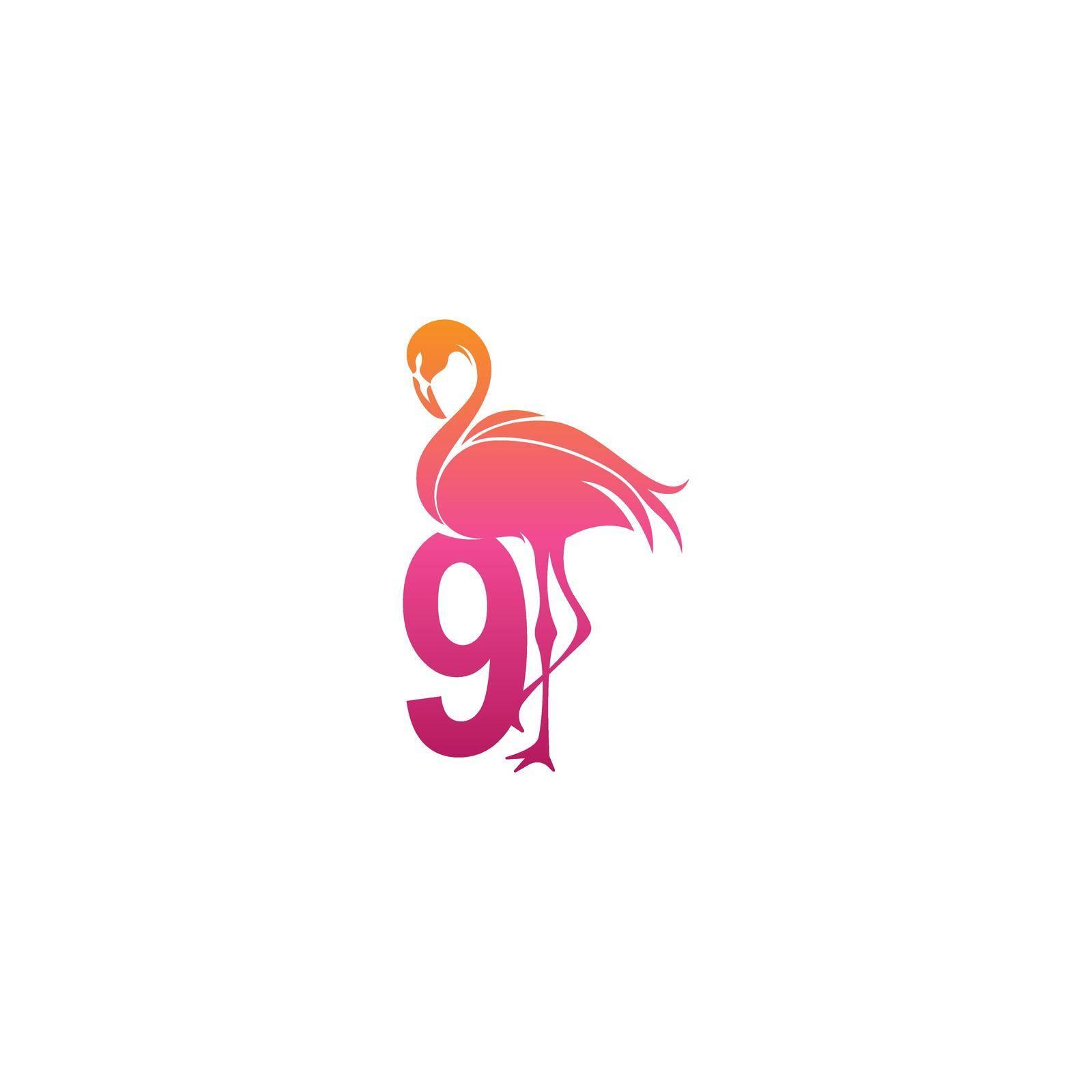 Flamingo bird icon with Number 9 Logo design vector template
