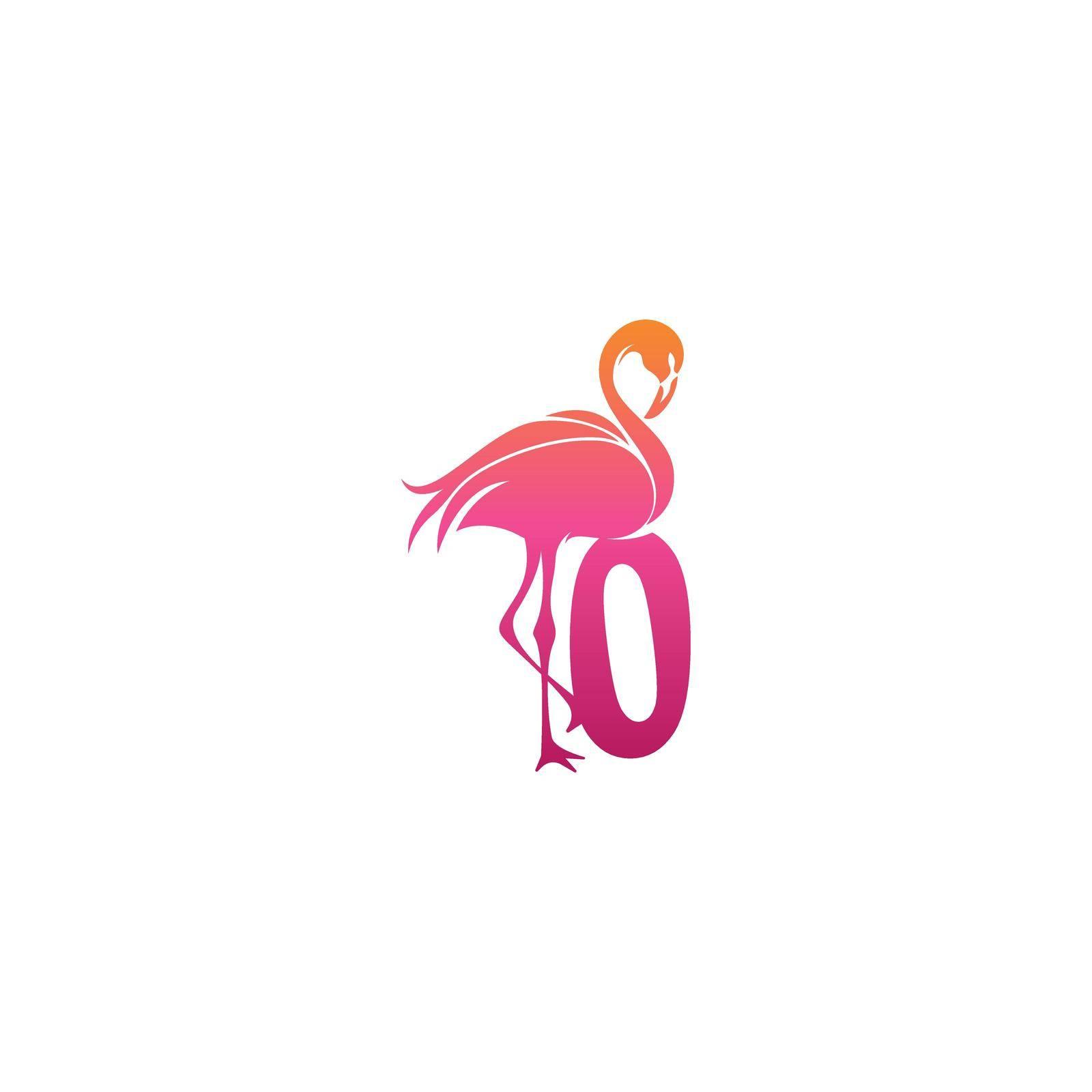 Flamingo bird icon with Number zero Logo design vector template
