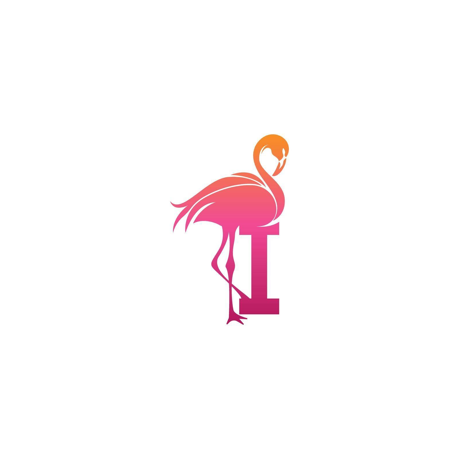 Flamingo bird icon with letter I Logo design vector template