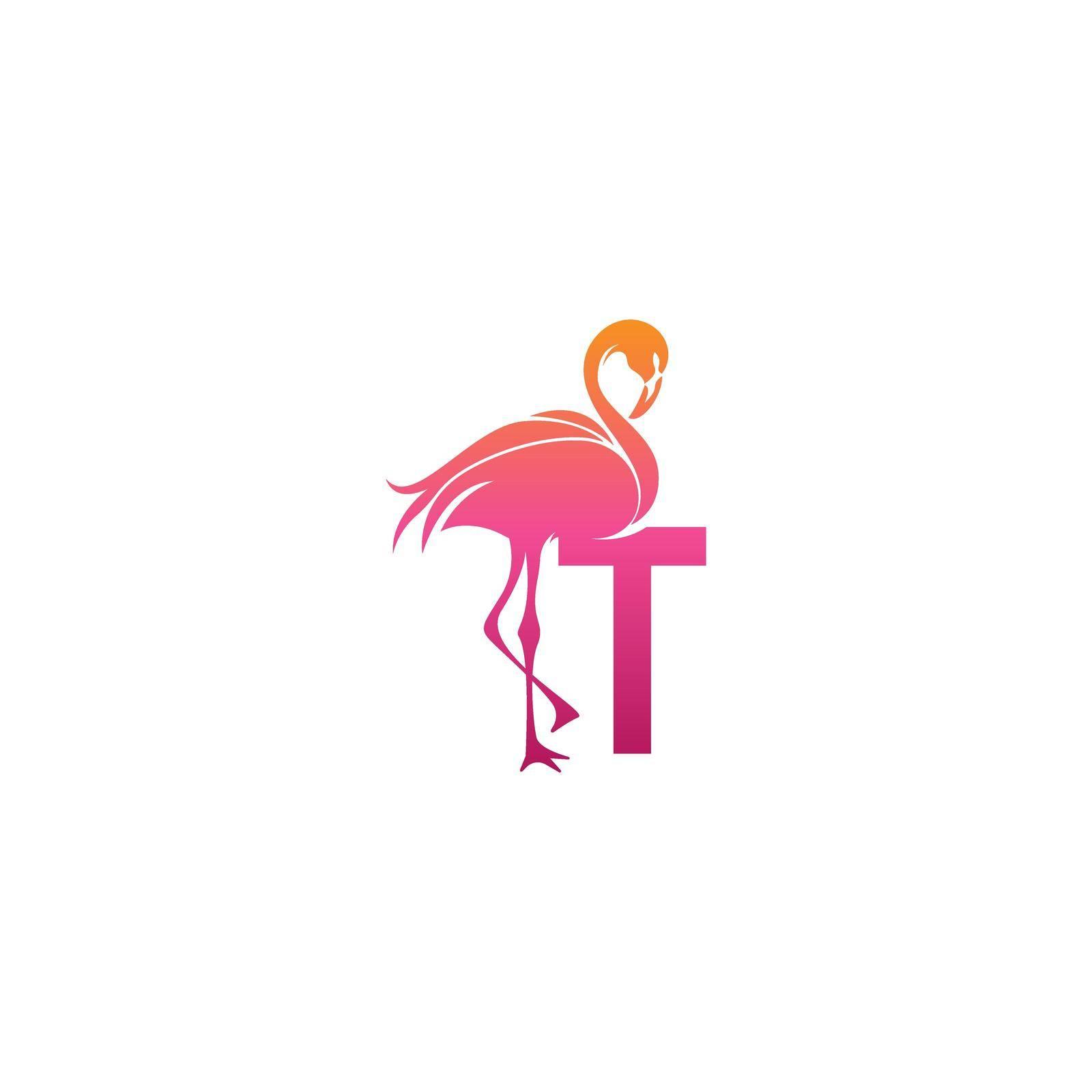Flamingo bird icon with letter T Logo design vector template
