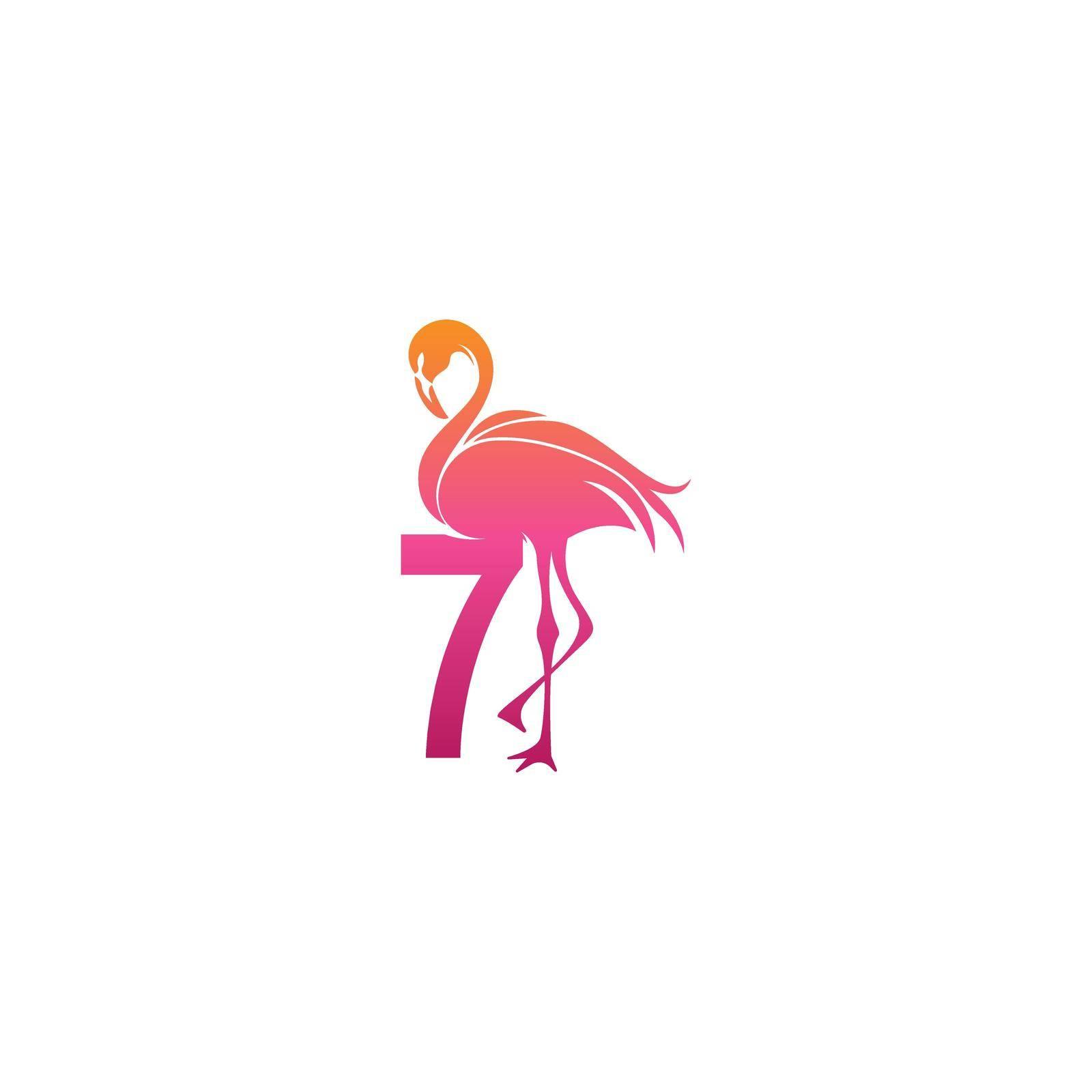 Flamingo bird icon with Number 7 Logo design vector template