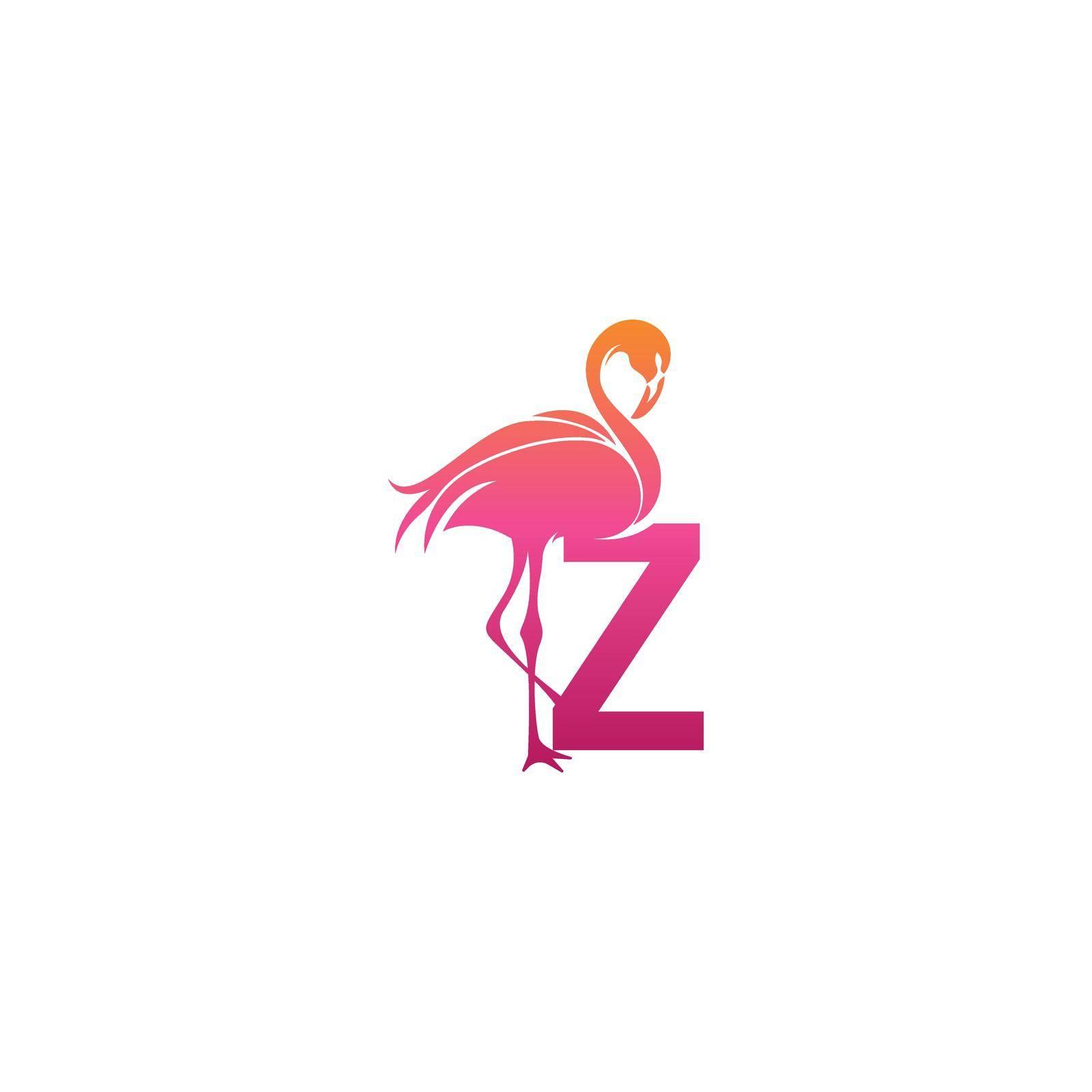 Flamingo bird icon with letter Z Logo design vector template