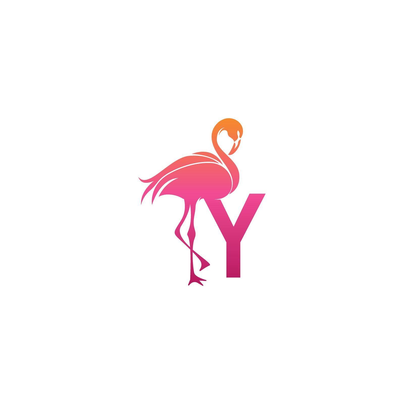 Flamingo bird icon with letter Y Logo design vector template