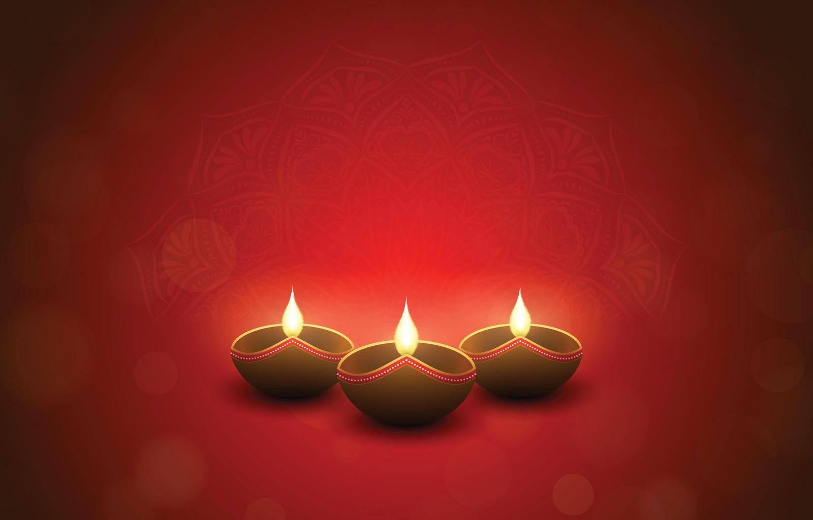 Red hindu festival design with burning diya lamps, bokeh and mandala effect. Diwali and Tihar holiday concept. Vector illustration.