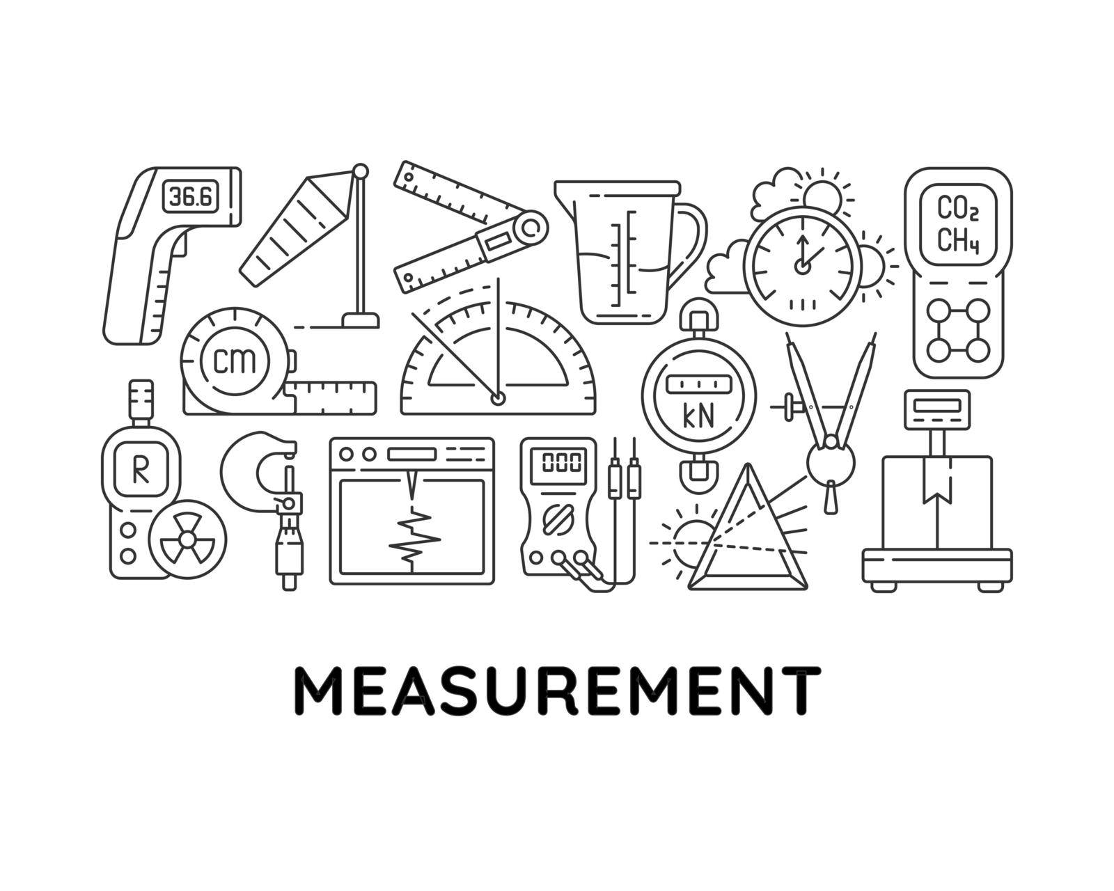 Measurement tools abstract linear concept layout with headline. Devices for measuring minimalistic idea. Weight, length check thin line graphic drawings. Isolated vector contour icons for background