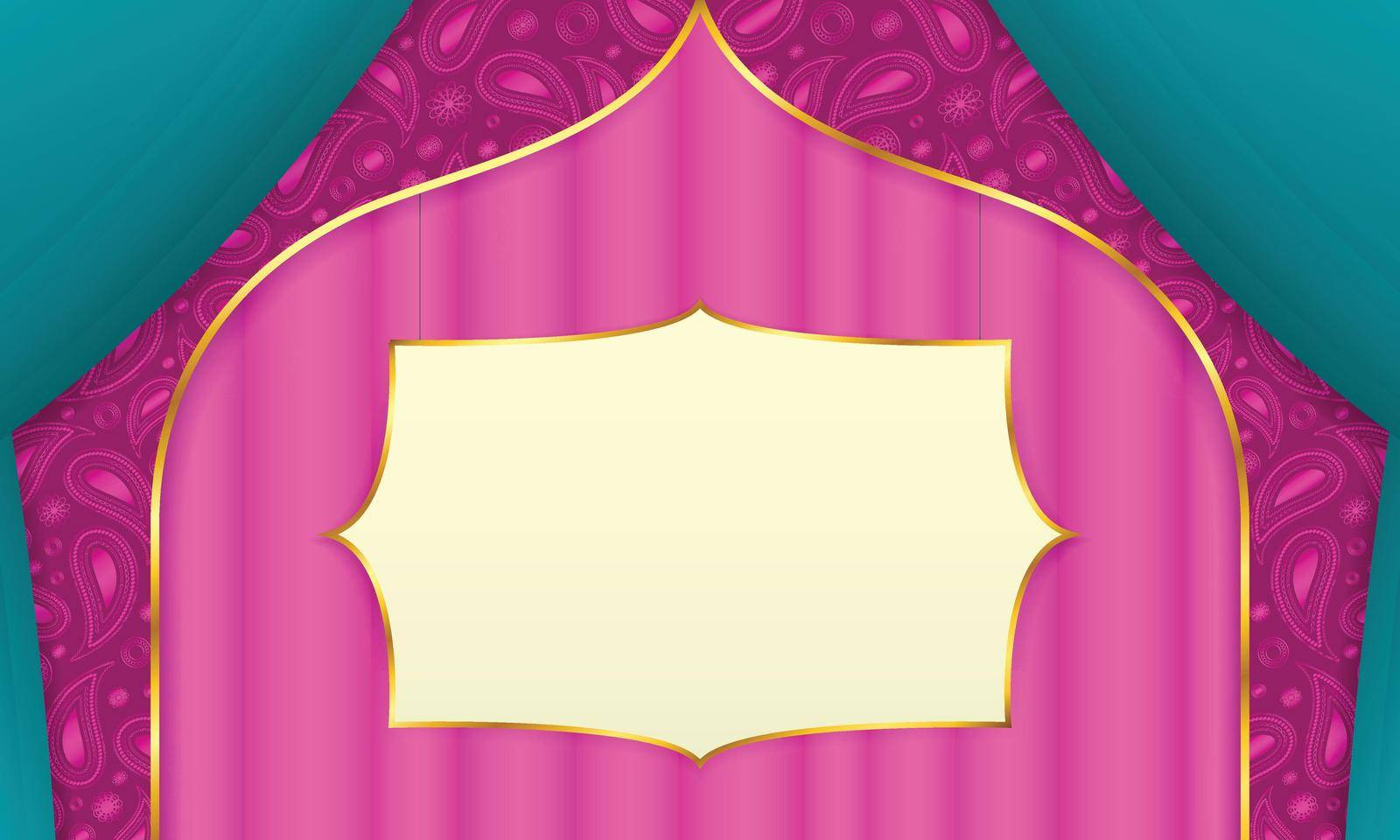 Pink background with curtains and paisley decoration, in indian style. Blank blackboard with gold frame in the middle.