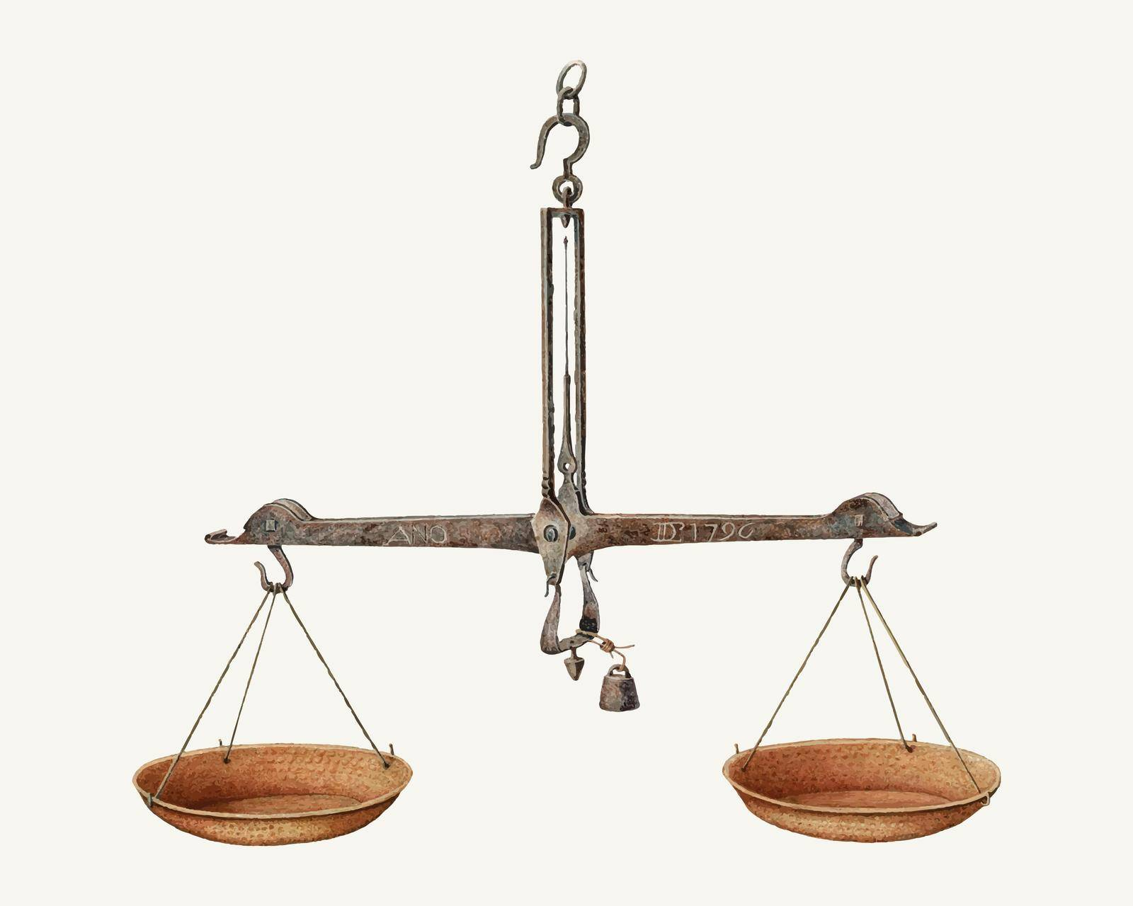 Vintage balance scales illustration vector, remixed from the artwork by William Kieckhofel