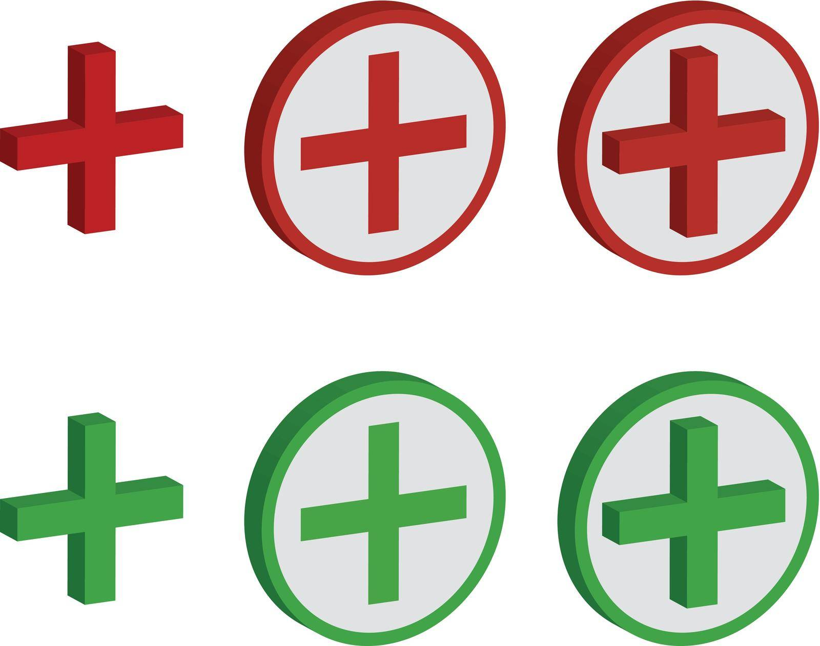 Plus sign set in green and red colors. Three types of signal on white isolated background, three dimensions.