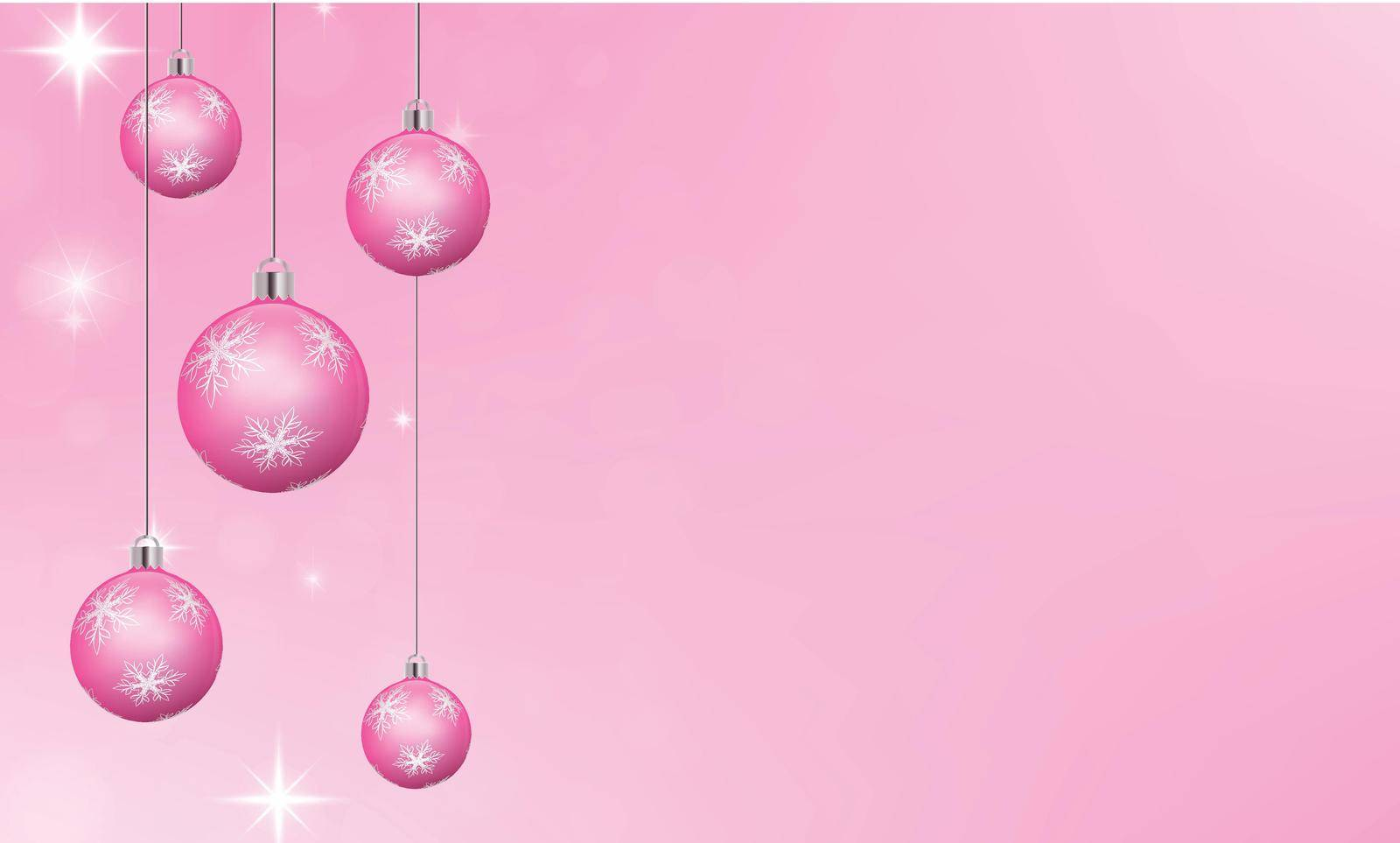 Pink christmas background. Baubles decorated with white snowflakes. Shimmering effect and empty space to copy text. Winter festive background. 3D illustration.