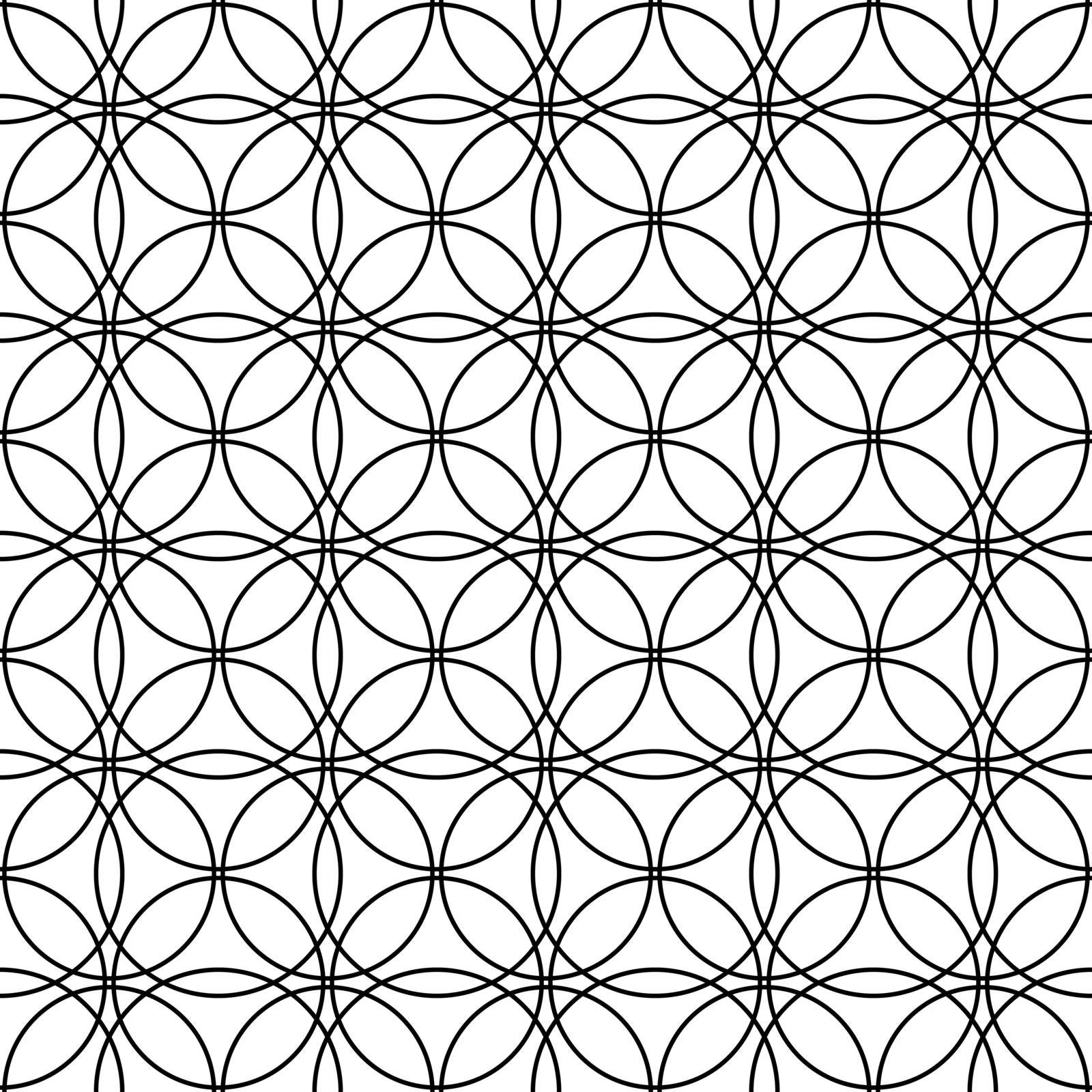 seamless geometric linear pattern creates intersecting circles. An ornament for texture, textiles and simple backgrounds. Flat style.