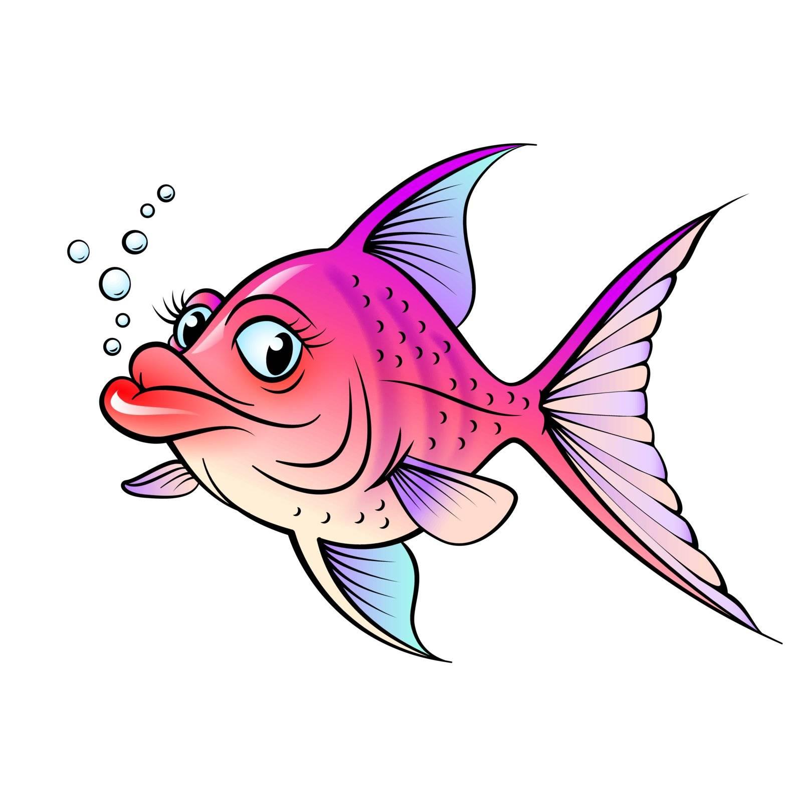Cartoon fish. Illustration for design on white background