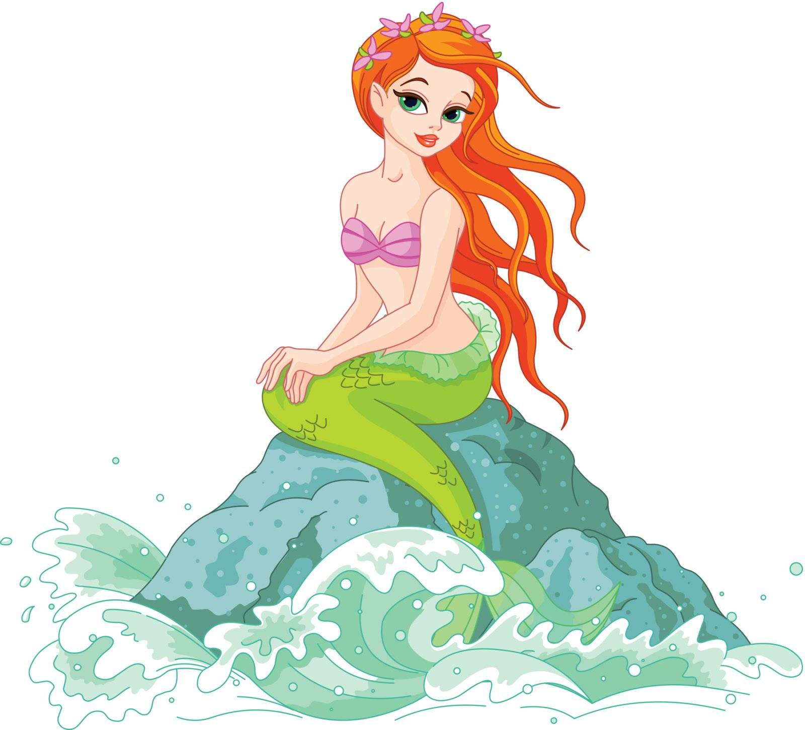 Illustration of a Beautiful mermaid girl sitting on the rock