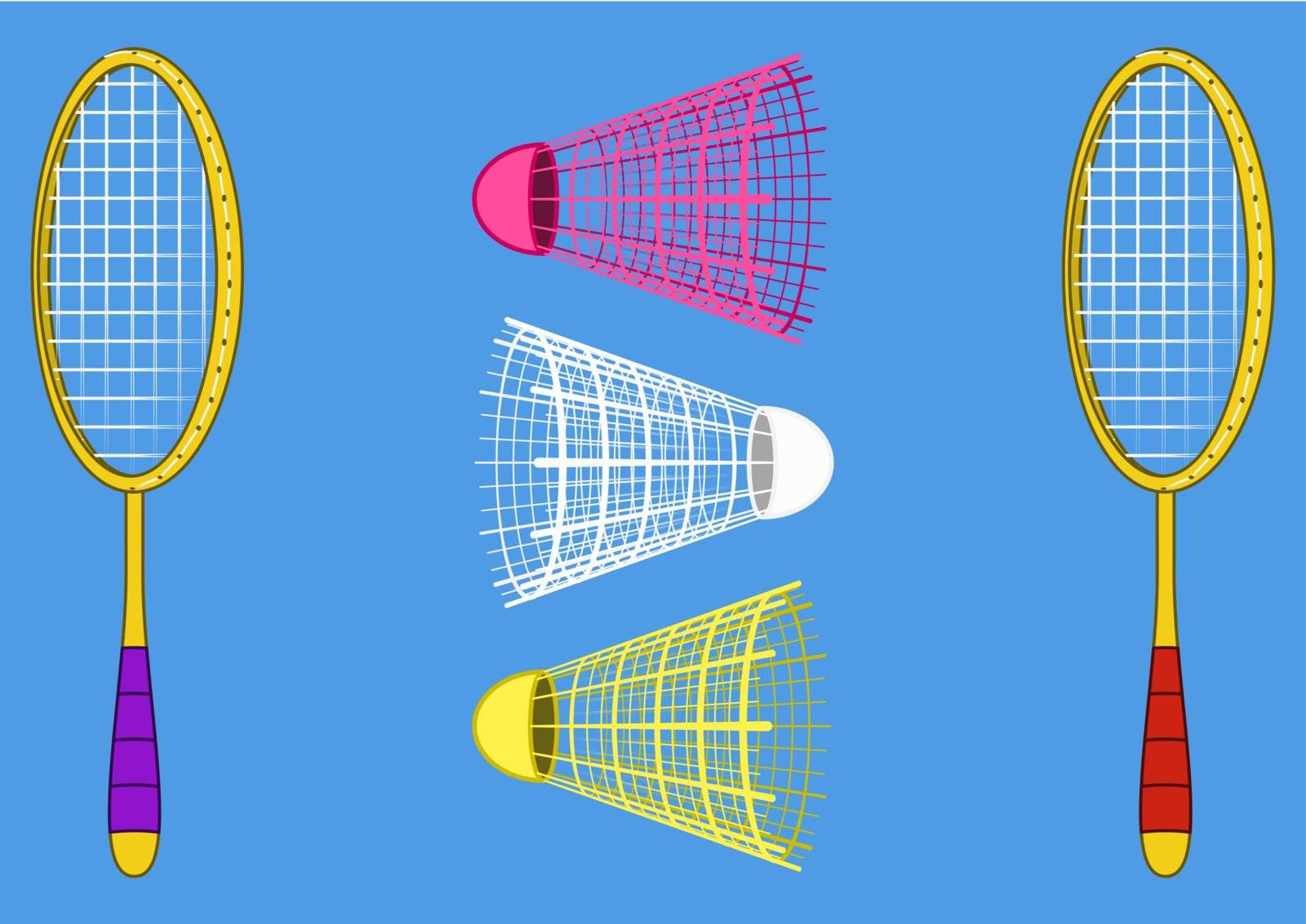 Set objects of sporting equipment for badminton game: two rackets and three shuttlecocks on blue background. Vector